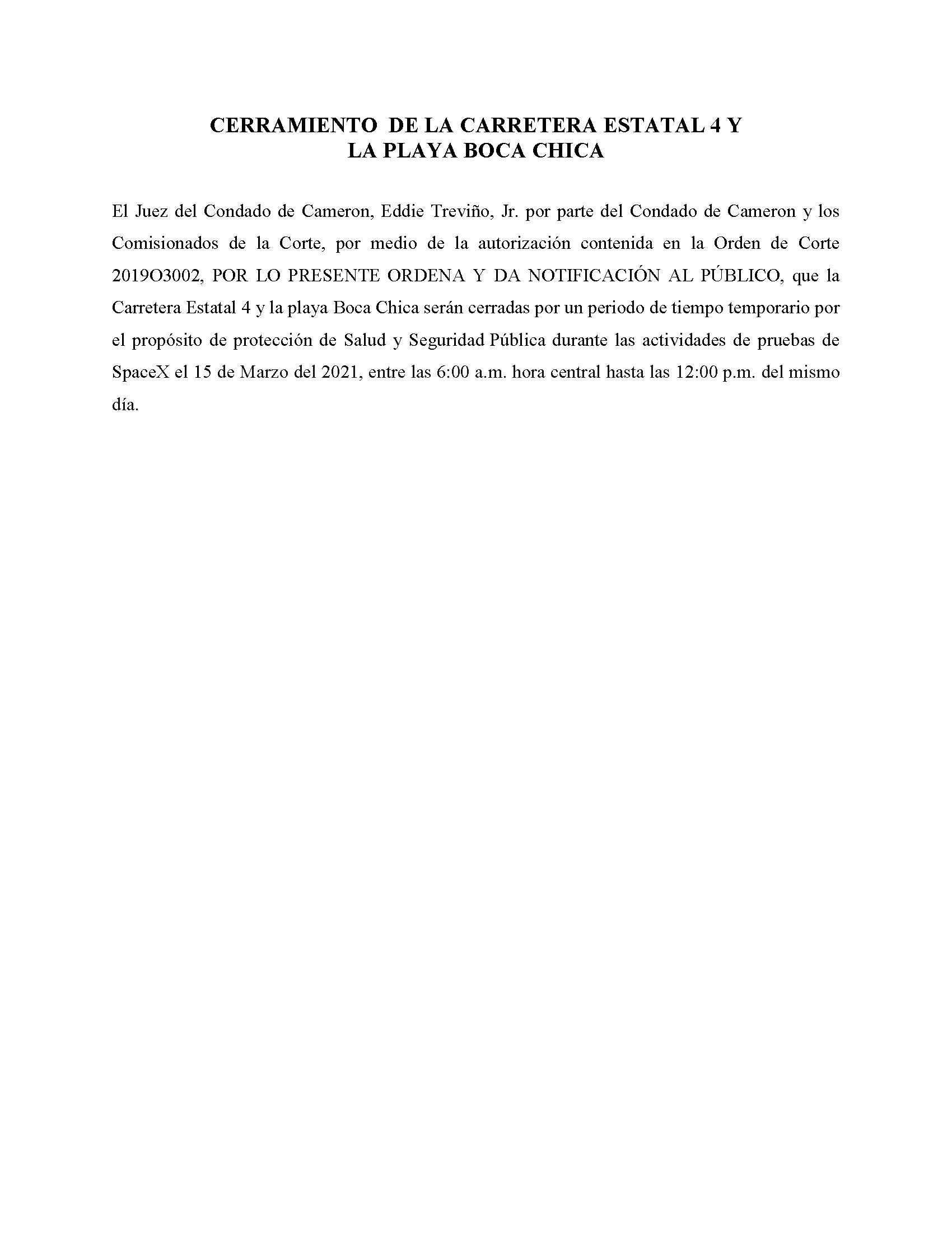 ORDER.CLOSURE OF HIGHWAY 4 Y LA PLAYA BOCA CHICA.SPANISH.03.15.2021