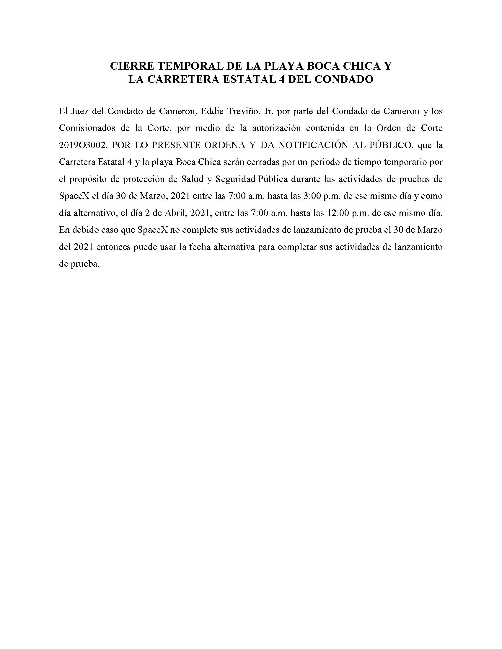 ORDER.CLOSURE OF HIGHWAY 4 Y LA PLAYA BOCA CHICA.SPANISH.03.30.2021and04.02.2021