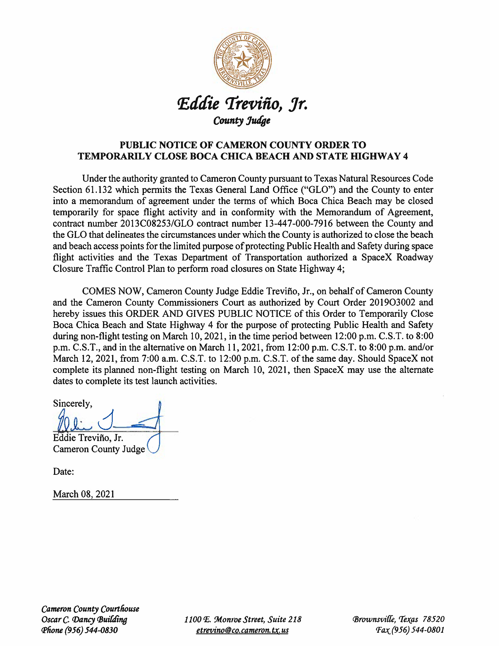 PUBLIC NOTICE OF CAMERON COUNTY ORDER TO TEMP. BEACH CLOSURE AND HWY.03.10.2021