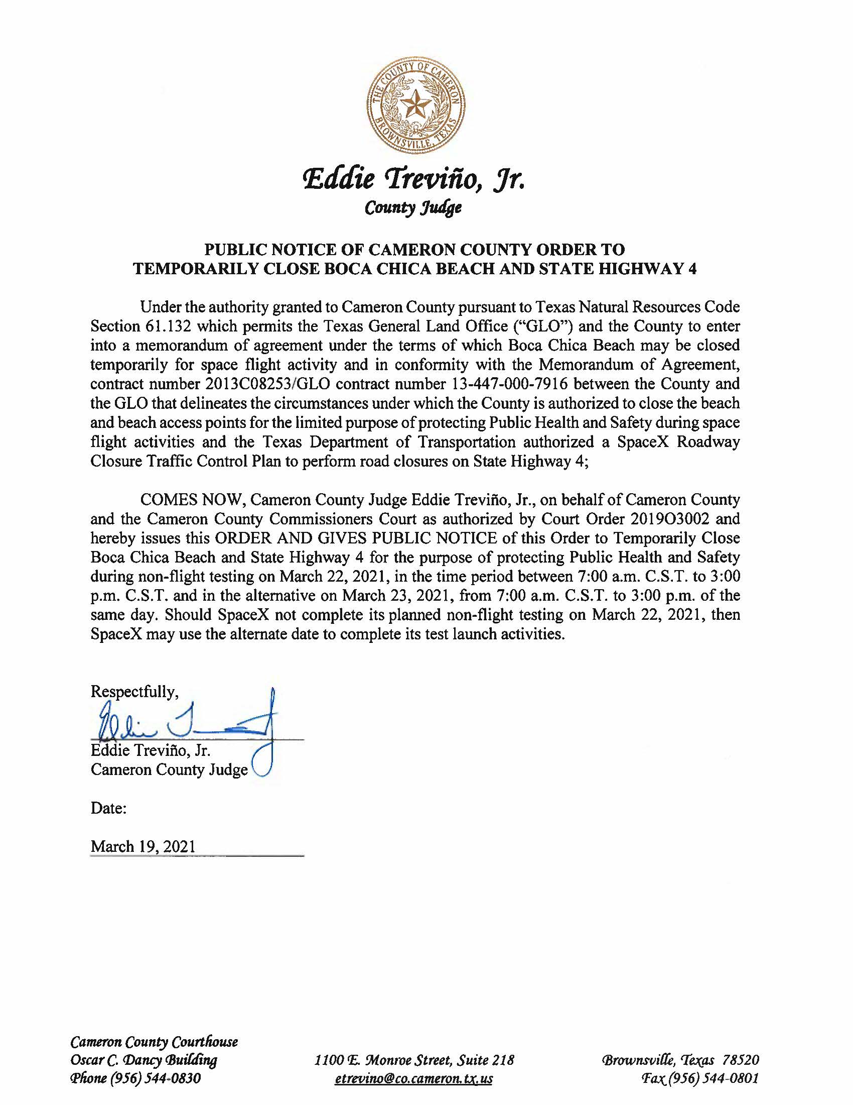 PUBLIC NOTICE OF CAMERON COUNTY ORDER TO TEMP. BEACH CLOSURE AND HWY.03.22.2021