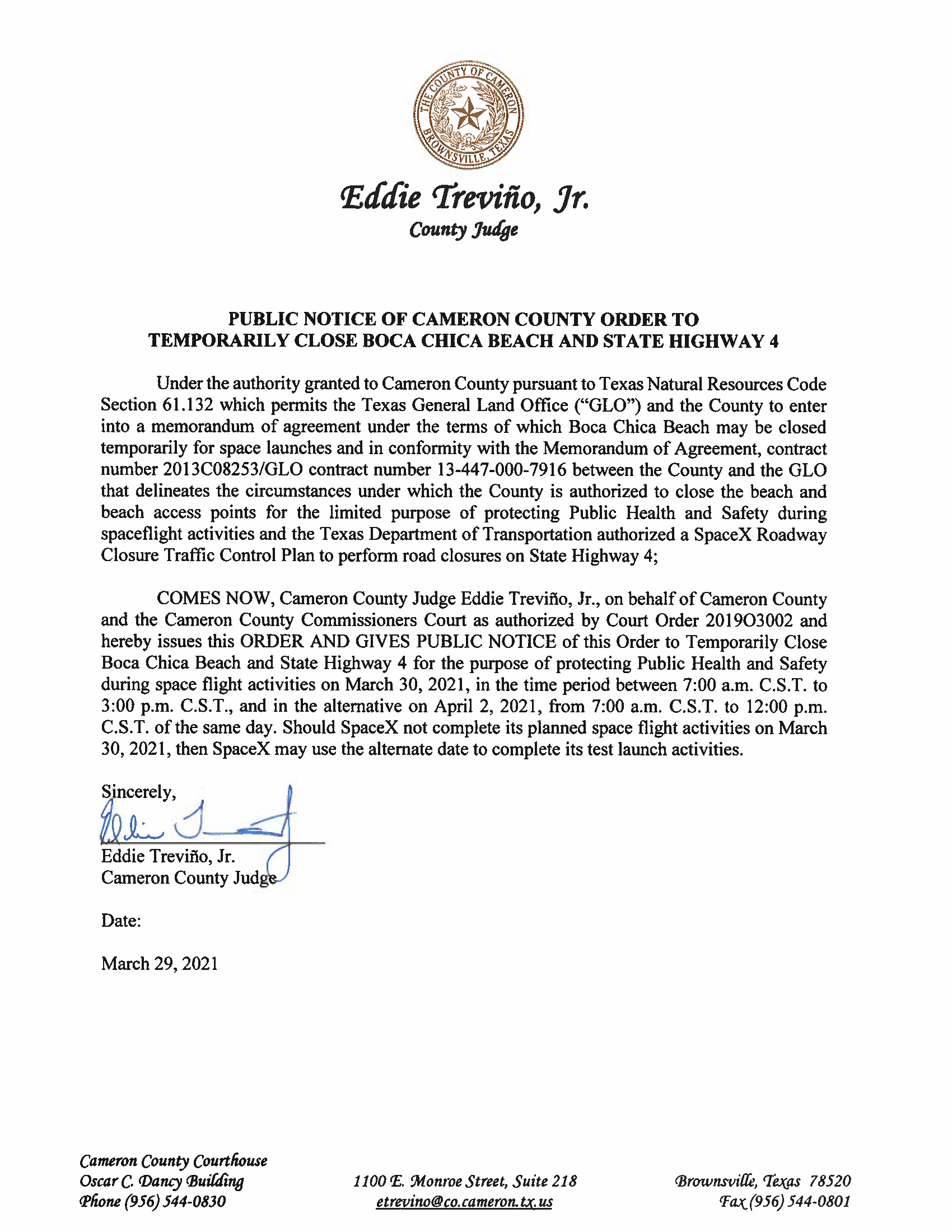 PUBLIC NOTICE OF CAMERON COUNTY ORDER TO TEMP. BEACH CLOSURE AND HWY.03.30.2021 And 04.02.2021