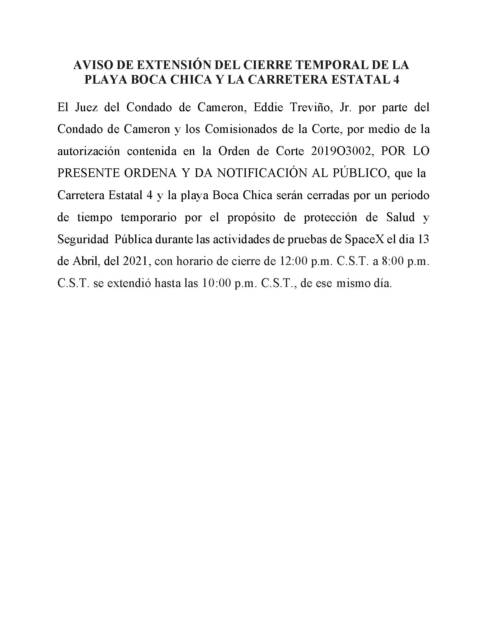 04.13.2021 Order In Spanish