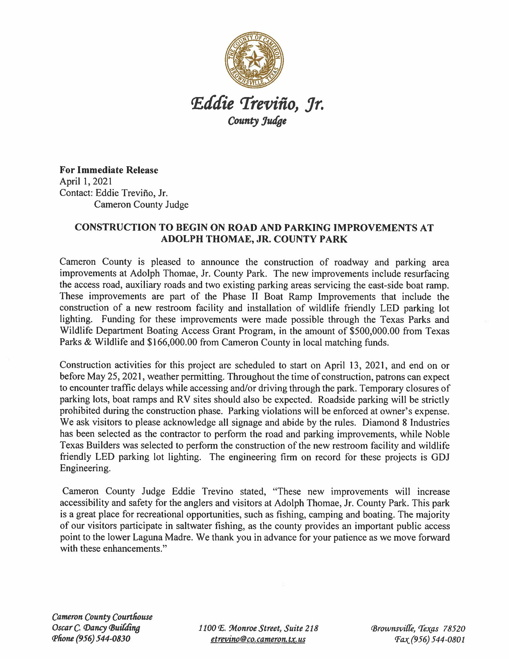 4.1.21 Construction To Begin On Road And Parking Improvements At Adolph Thomae Jr. County Park Page 1