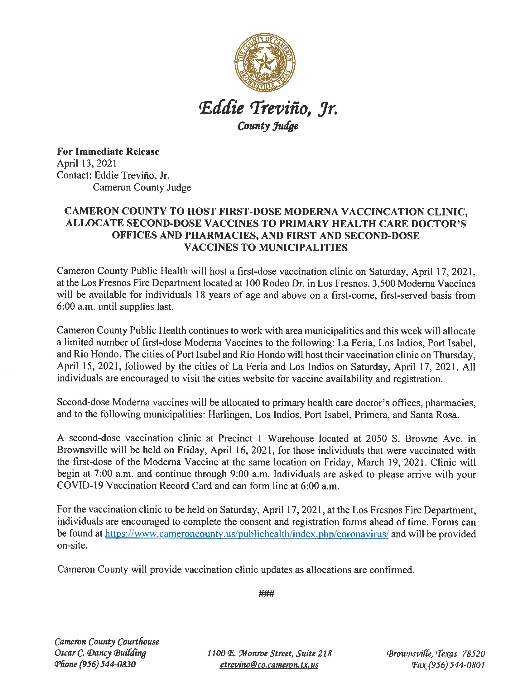 4.13.21 Cameron County To Host First Dose Clinic And Allocate First And Second Doses