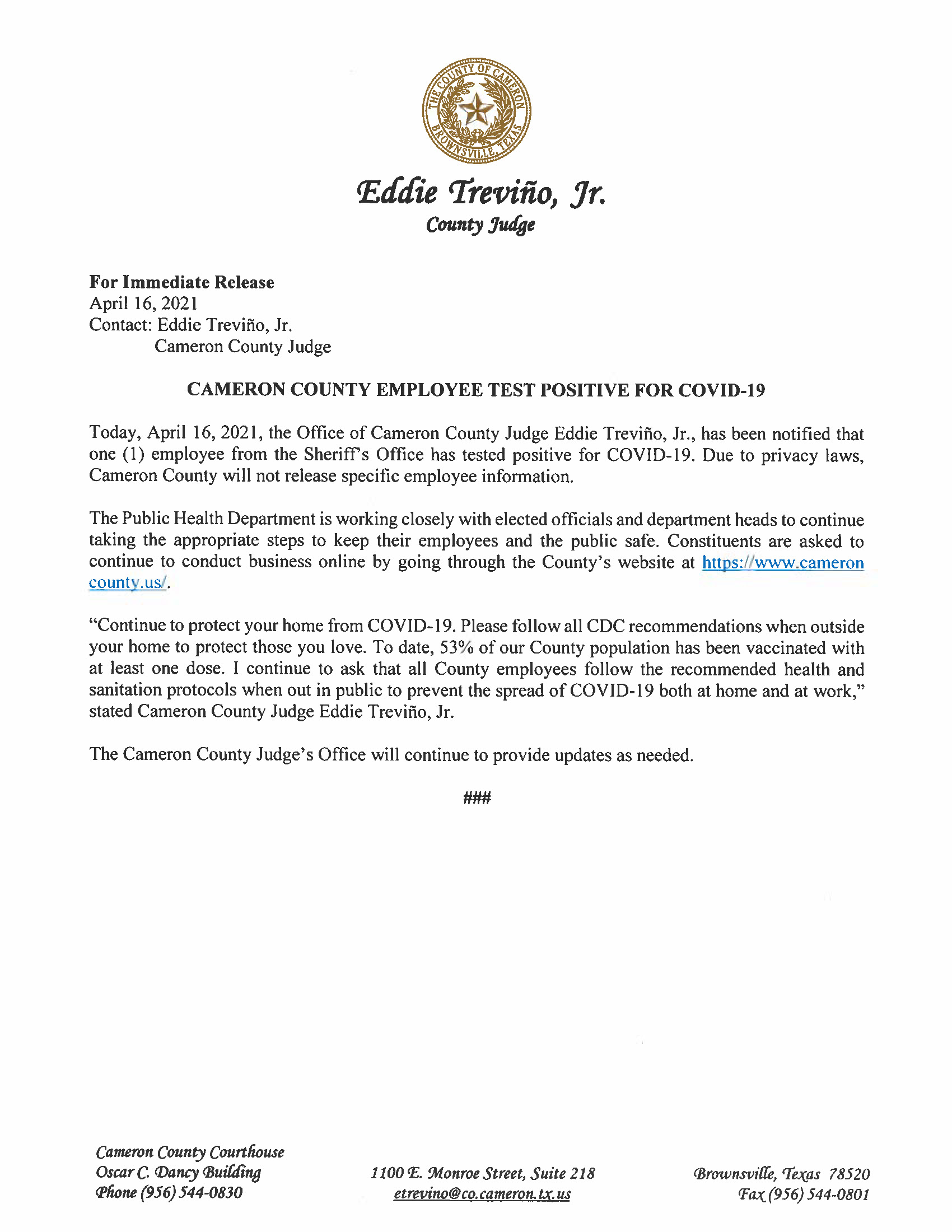 4.16.21 Cameron County Employee Tests Positive For COVID 19