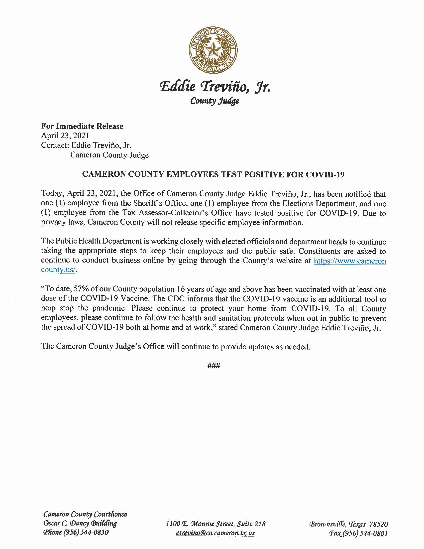 4.23.21 Cameron County Employees Test Positive For COVID 19