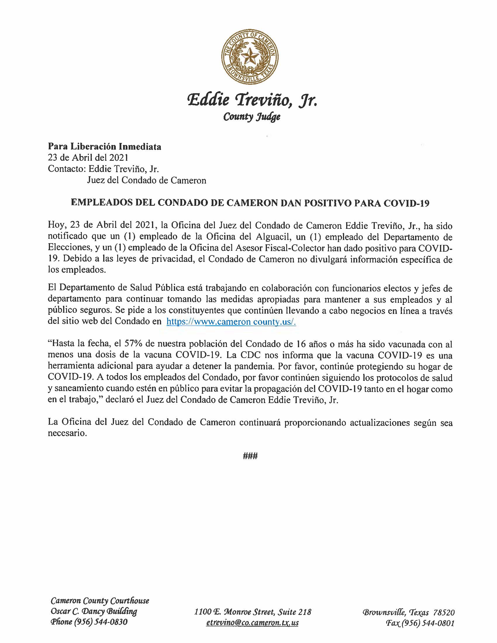 4.23.21 Empleados Del Condado De Cameron Dan Positivo Para COVID 19