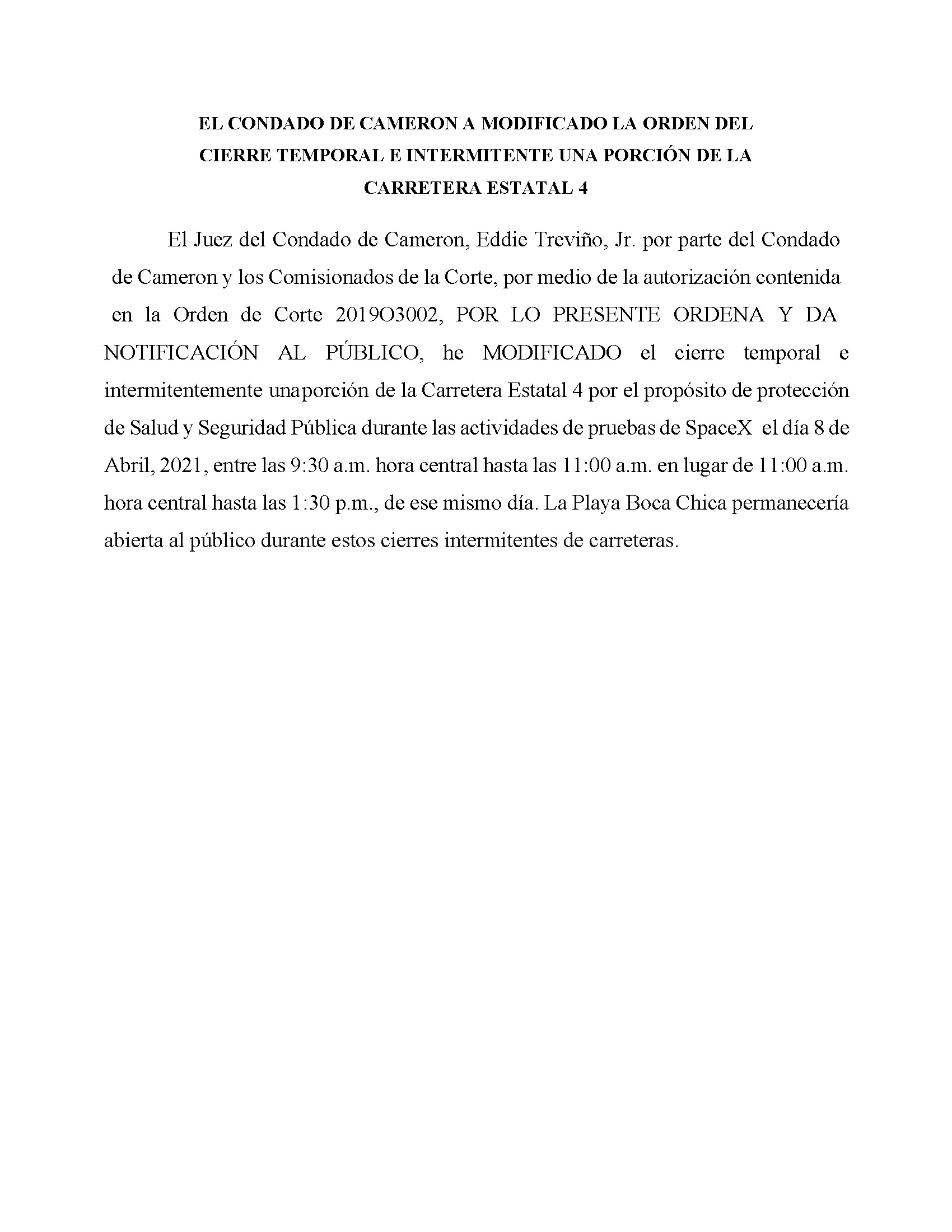 AMENDED ORDER.CLOSURE OF HIGHWAY 4.SPANISH.04.08.2021