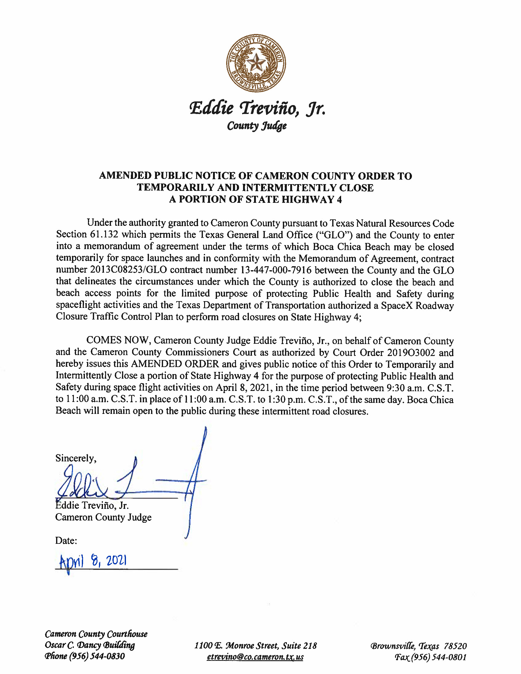 AMENDED PUBLIC NOTICE OF CAMERON COUNTY ORDER TO TEMP. ROAD CLOSURE. 04.08.2021
