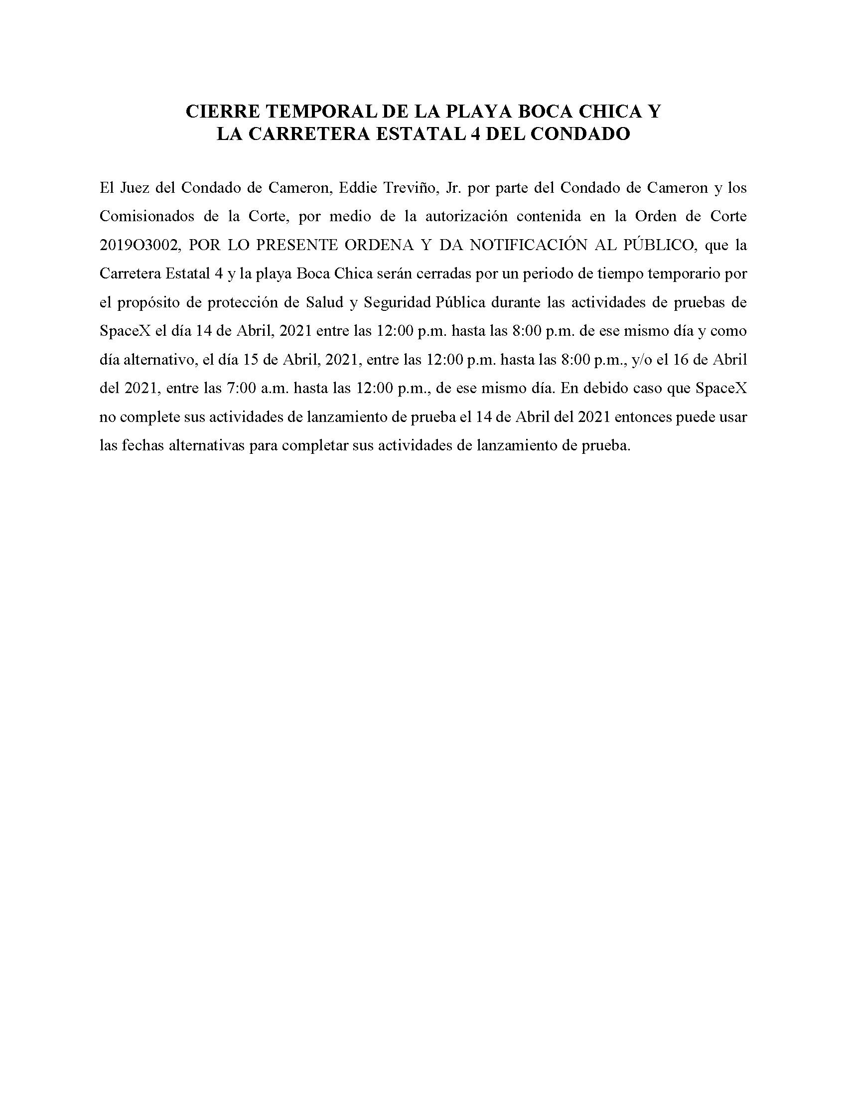 ORDER.CLOSURE OF HIGHWAY 4 Y LA PLAYA BOCA CHICA.SPANISH.04.14.2021