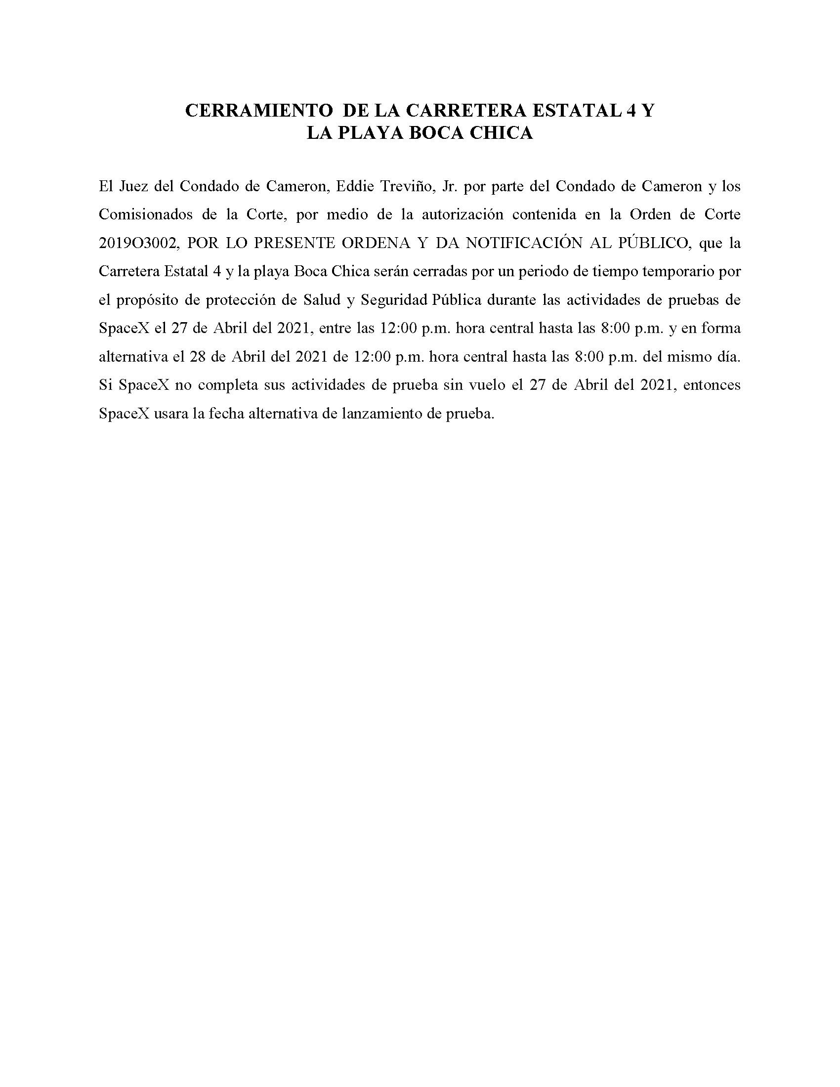 ORDER.CLOSURE OF HIGHWAY 4 Y LA PLAYA BOCA CHICA.SPANISH.04.27.2021