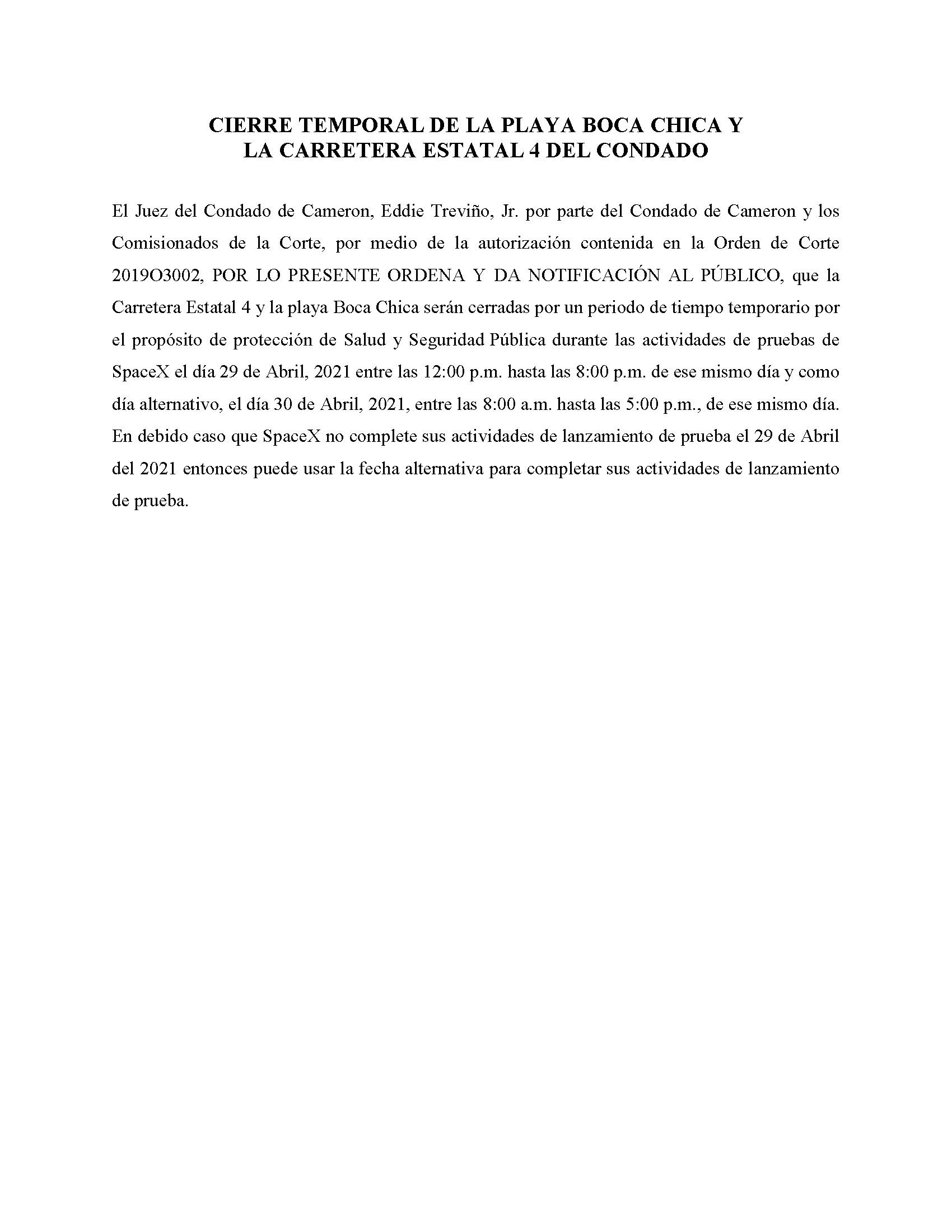 ORDER.CLOSURE OF HIGHWAY 4 Y LA PLAYA BOCA CHICA.SPANISH.04.29.2021