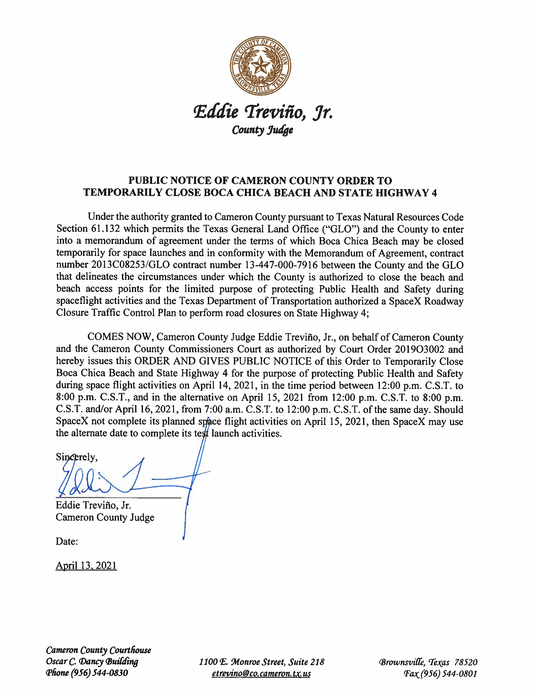 PUBLIC NOTICE OF CAMERON COUNTY ORDER TO TEMP. BEACH CLOSURE AND HWY.04.14.2021