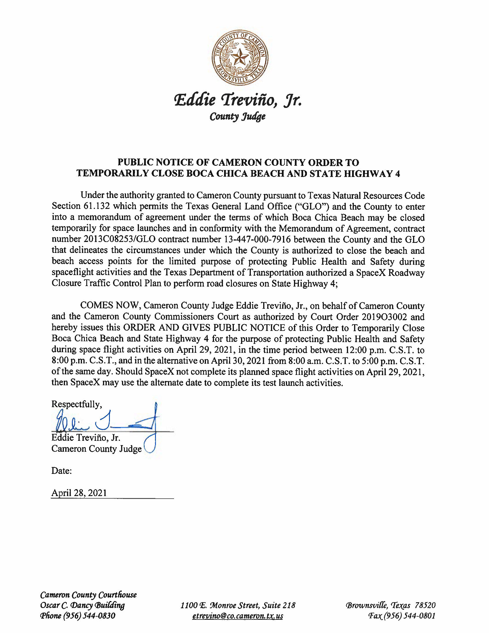 PUBLIC NOTICE OF CAMERON COUNTY ORDER TO TEMP. BEACH CLOSURE AND HWY.04.29.2021