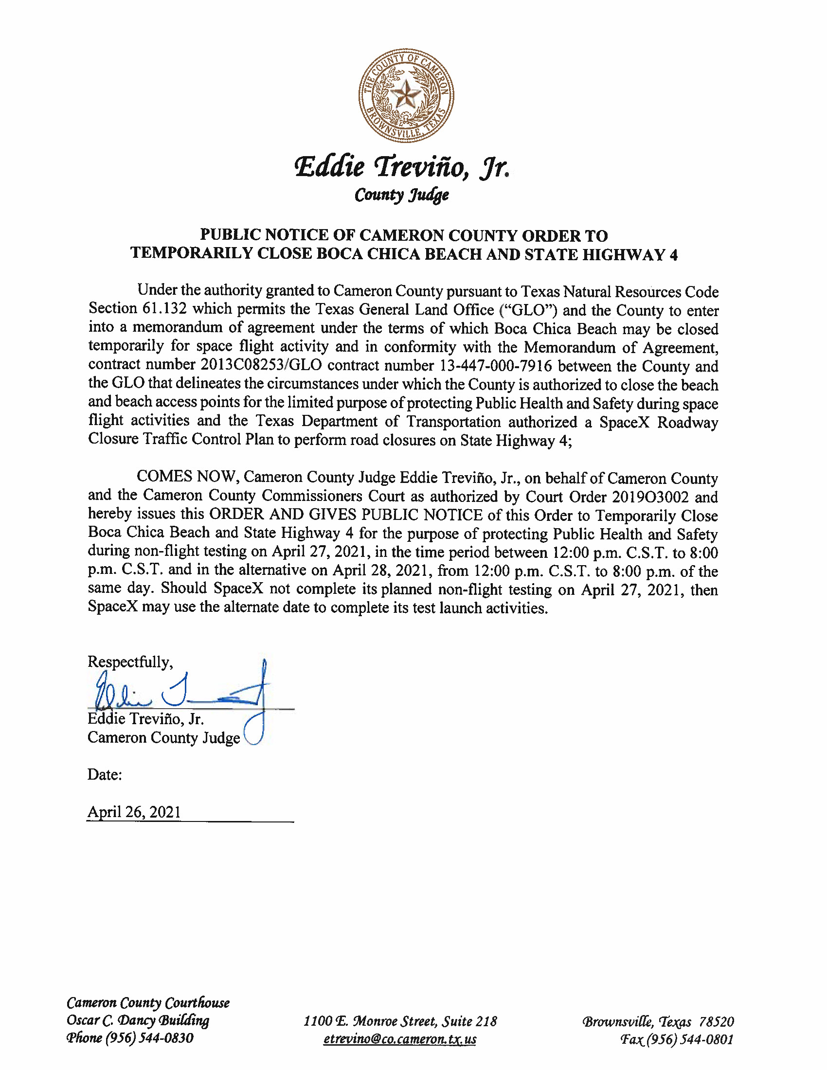PUBLIC NOTICE OF CAMERON COUNTY ORDER TO TEMP. BEACH CLOSURE AND HWY.NON FLIGHT.04.27.2021