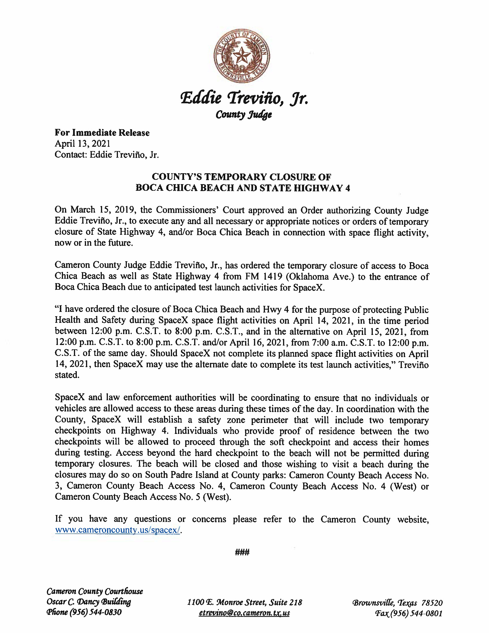 Press Release In English And Spanish.04.14.2021 Page 1
