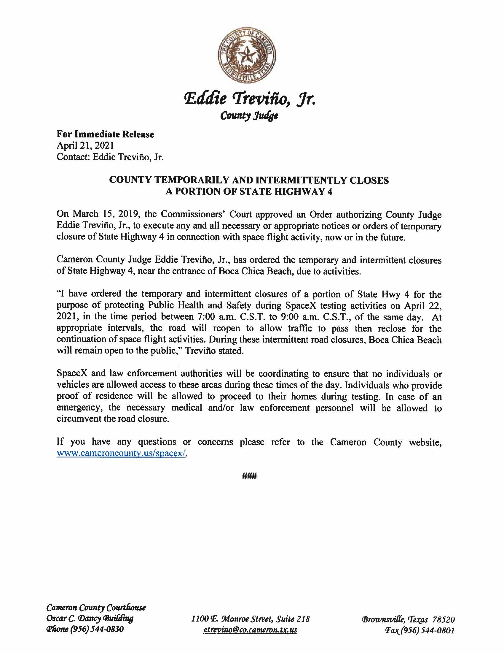Press Release In English And Spanish.04.22.2021 002 Page 1