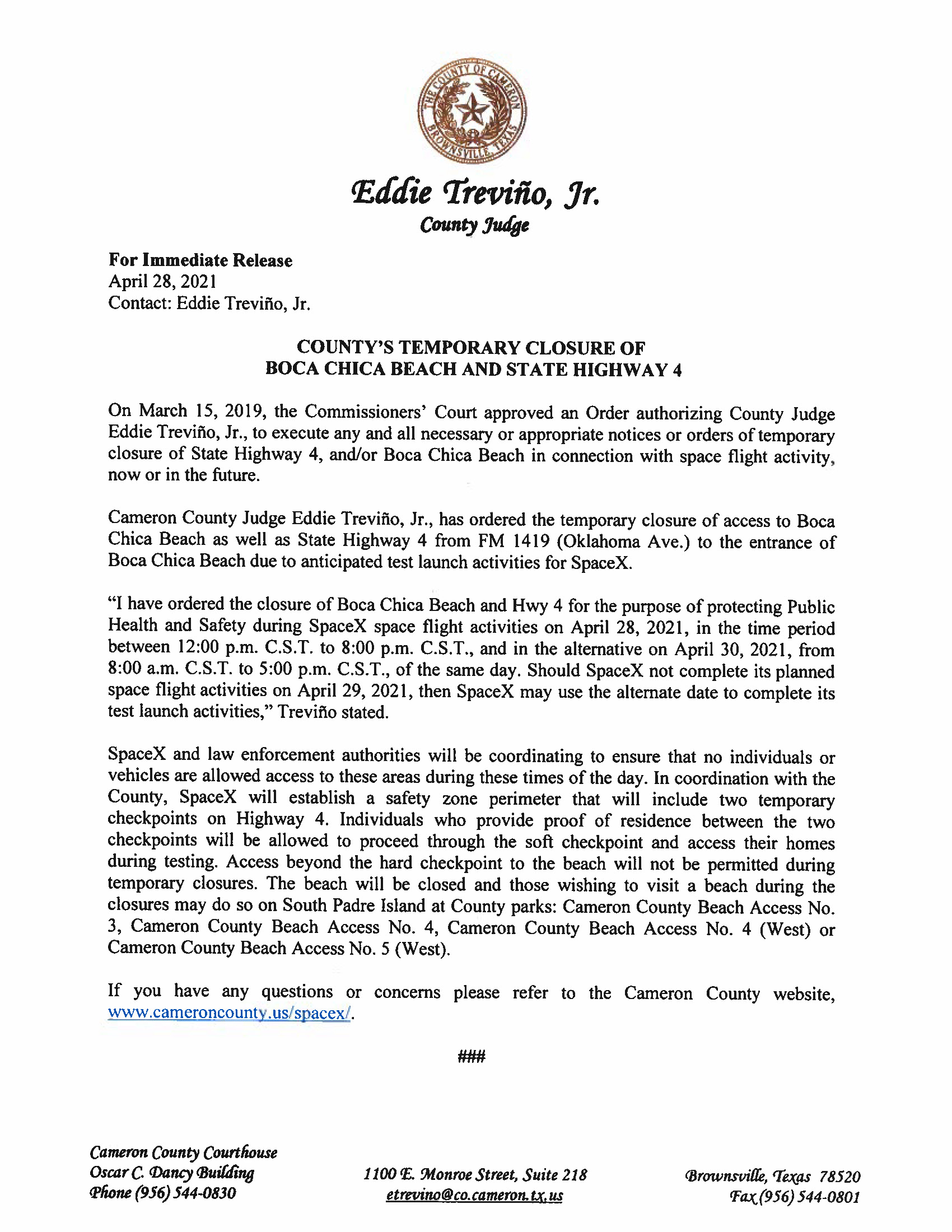 Press Release In English And Spanish.04.29.2021 Page 1