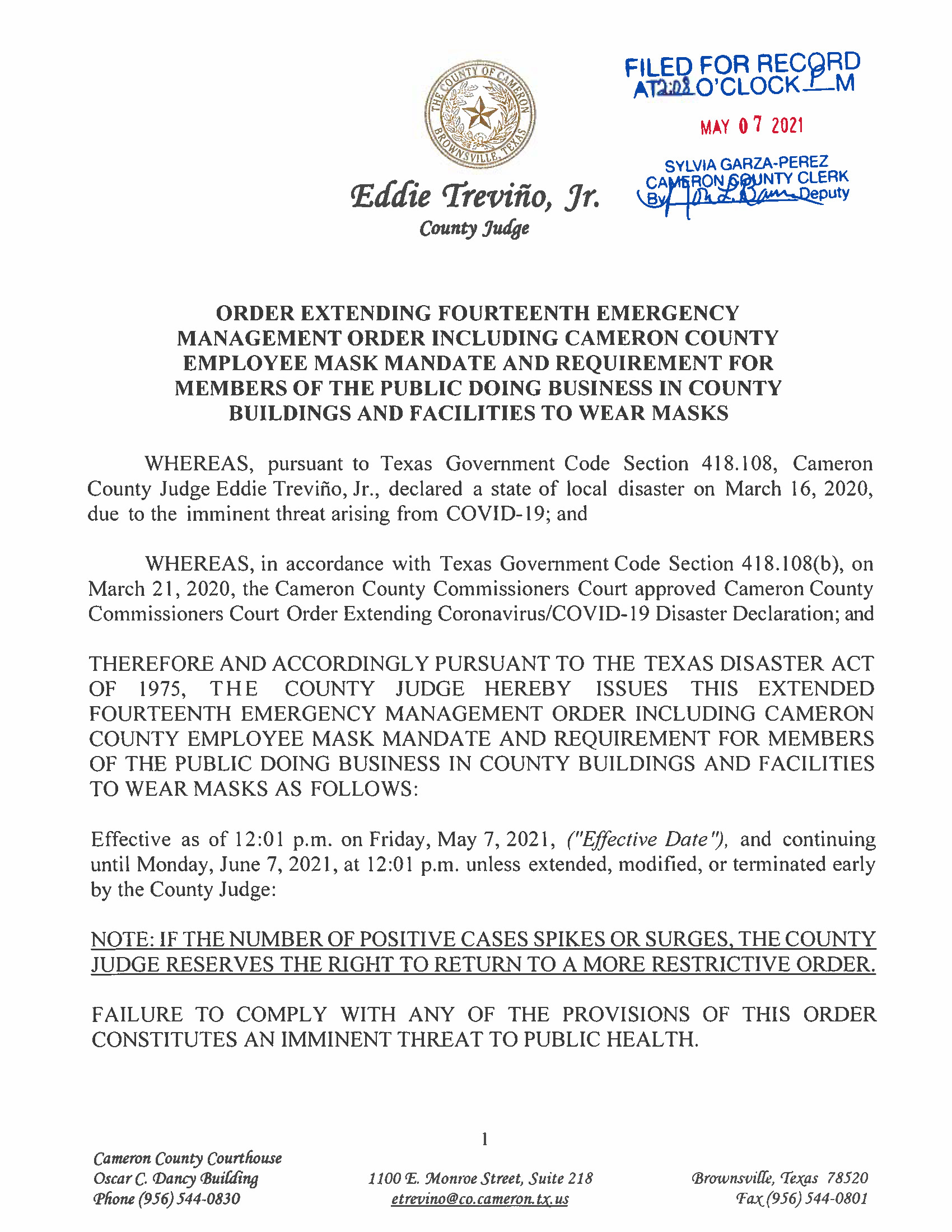 5.7.21 Extension Of 14th Emergency Order Page 1