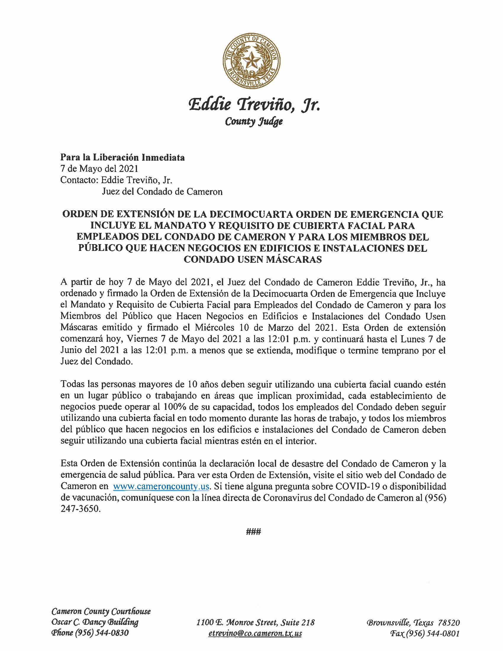 5.7.21 Liberacion Inmediata Orden De Extension De La Decimocuarta Orden De Emergencia 2