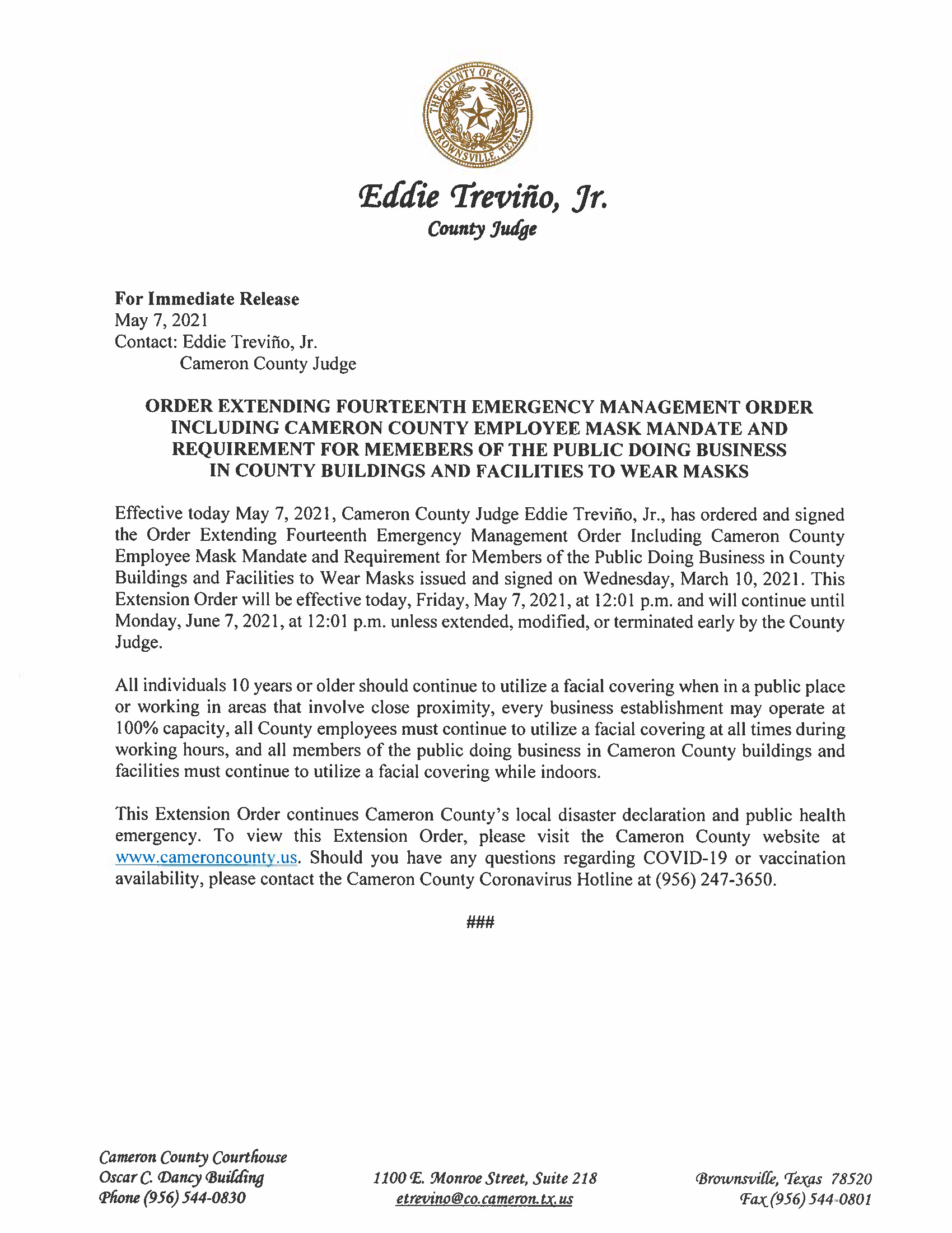 5.7.21 Press Release Extension Of 14th Emergency Order