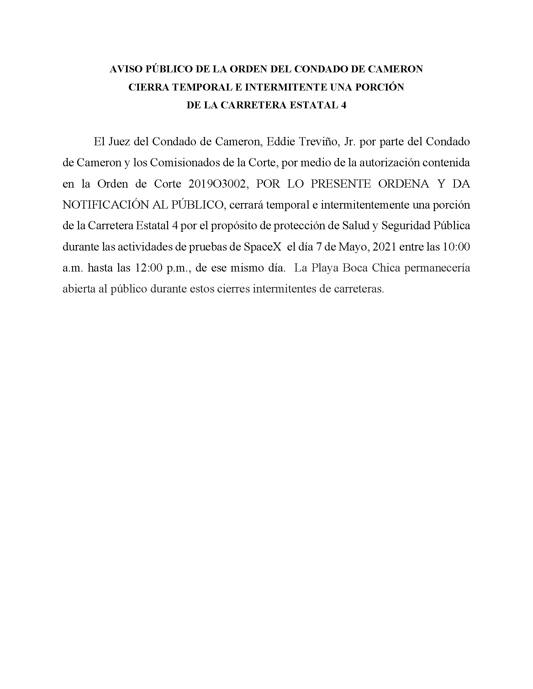 ORDER.CLOSURE OF HIGHWAY 4.SPANISH.05.07.2021