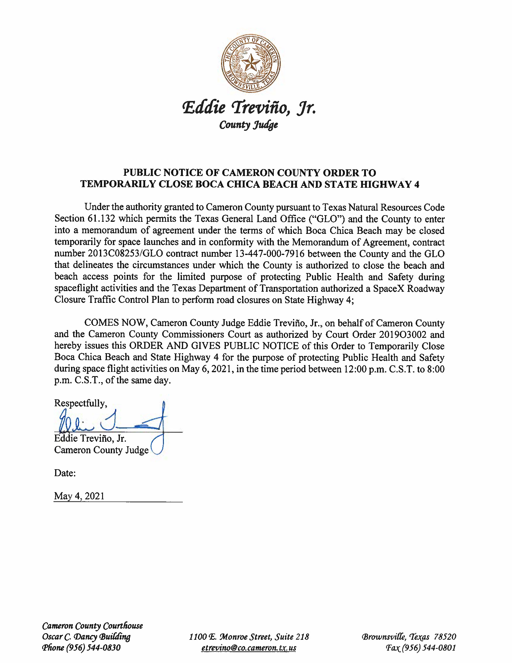 PUBLIC NOTICE OF CAMERON COUNTY ORDER TO TEMP. BEACH CLOSURE AND HWY.05.06.2021