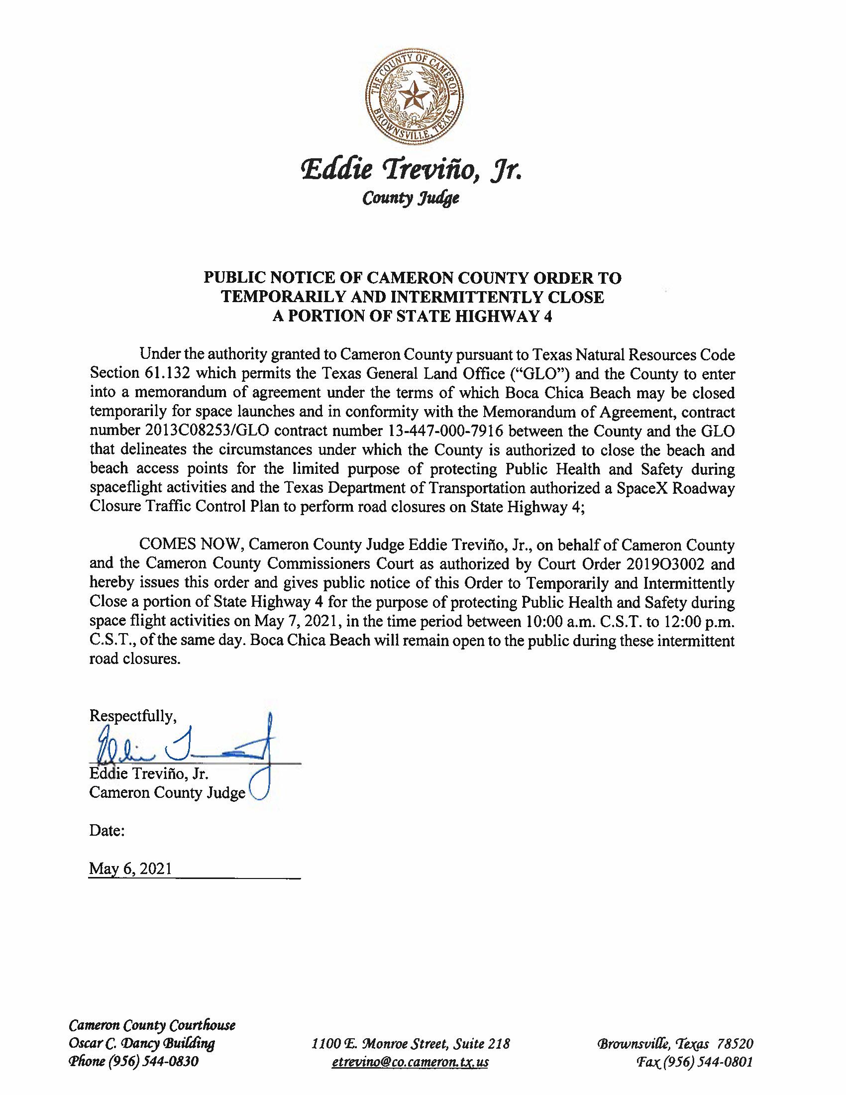 PUBLIC NOTICE OF CAMERON COUNTY ORDER TO TEMP. ROAD CLOSURE. 05.07.2021.docx