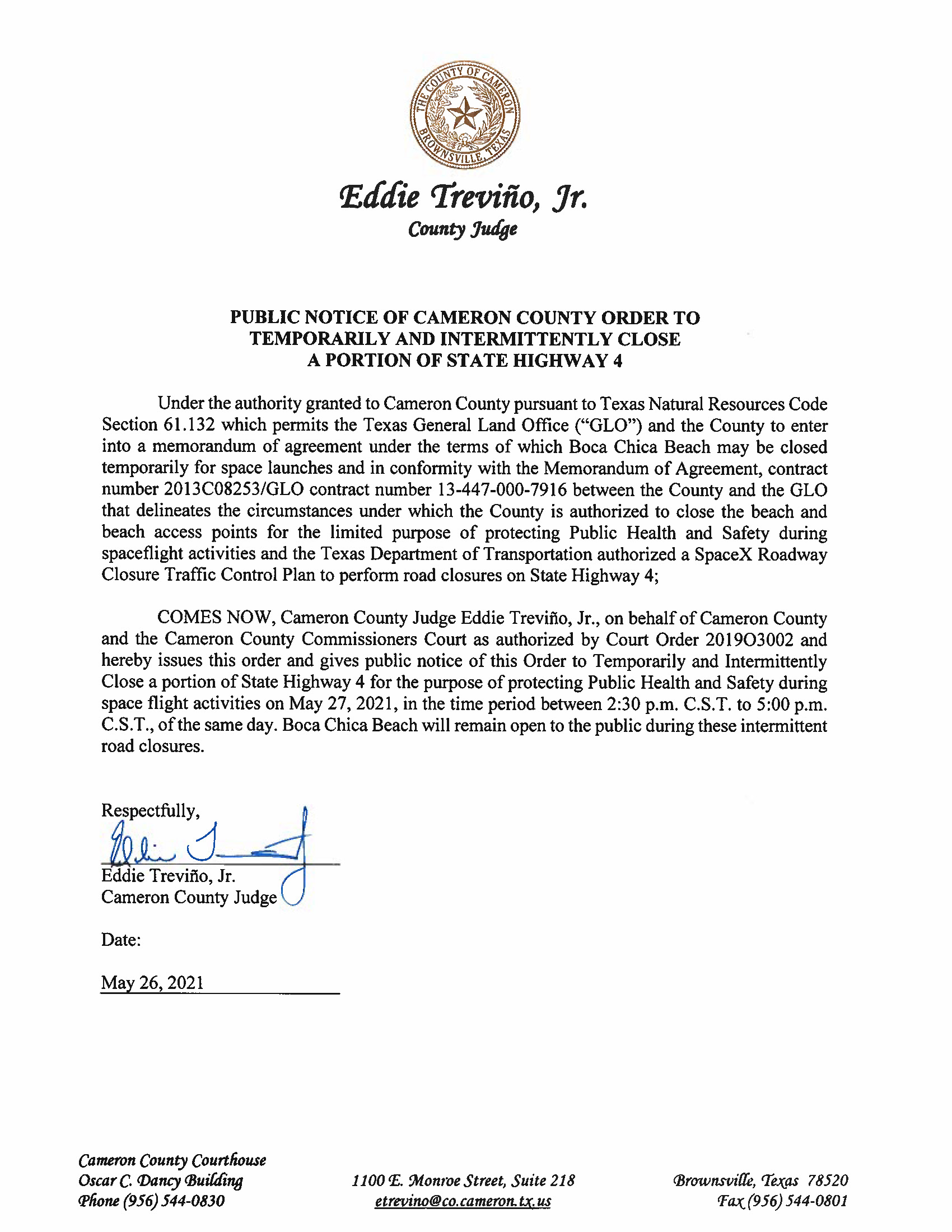 PUBLIC NOTICE OF CAMERON COUNTY ORDER TO TEMP. ROAD CLOSURE. 05.27.2021