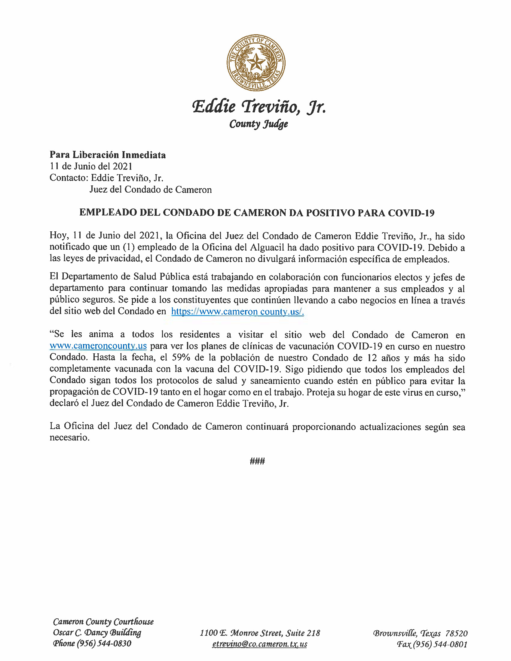 6.11.21 Empleado Del Condado De Cameron Da Positivo Para COVID 19