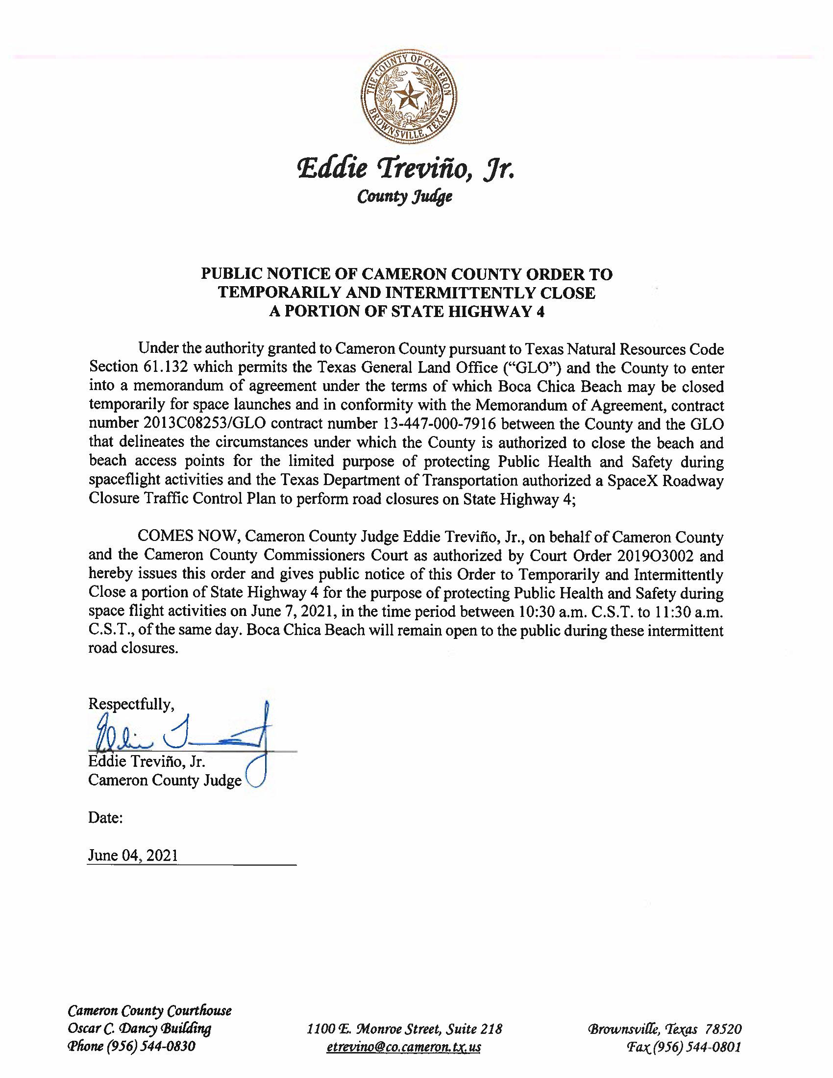 PUBLIC NOTICE OF CAMERON COUNTY ORDER TEMP. ROAD CLOSURE. 06.07.2021.docx