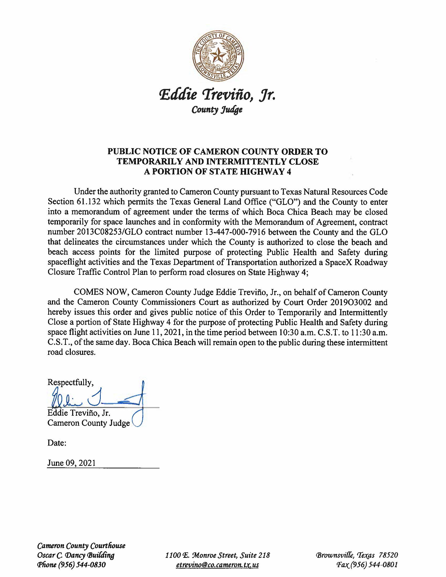 PUBLIC NOTICE OF CAMERON COUNTY ORDER TEMP. ROAD CLOSURE. 06.11.2021