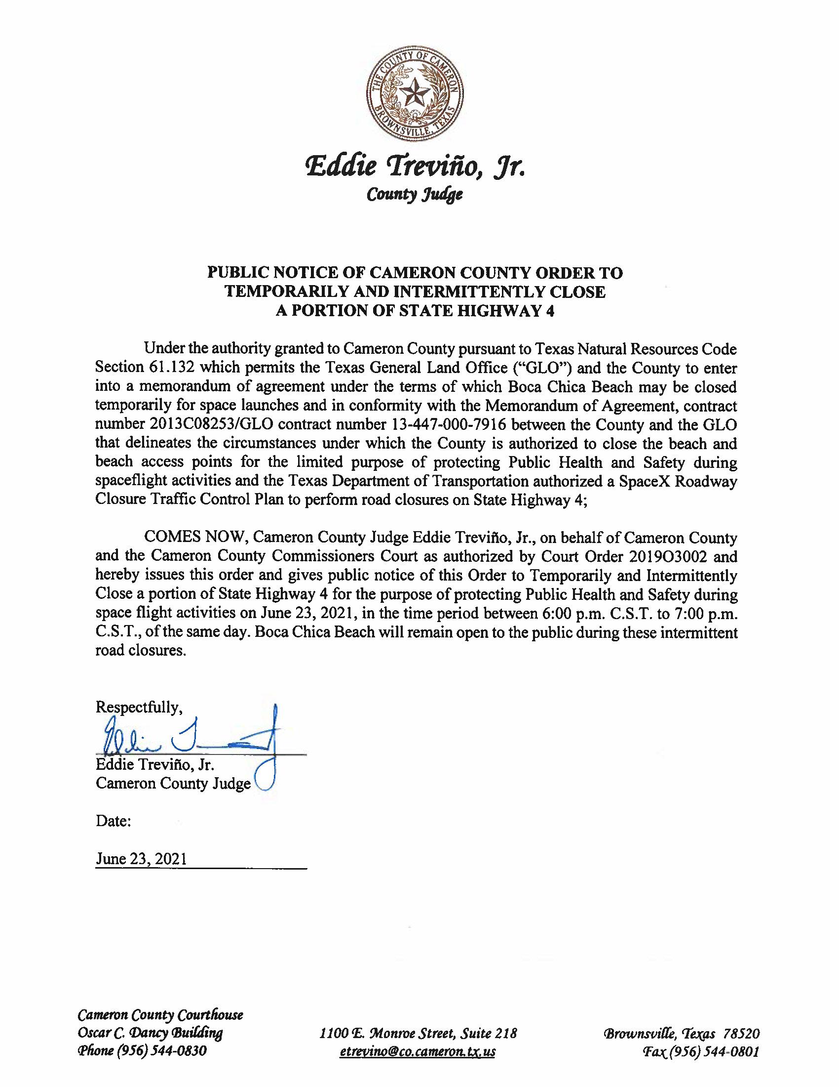 PUBLIC NOTICE OF CAMERON COUNTY ORDER TEMP. ROAD CLOSURE. 06.23.2021