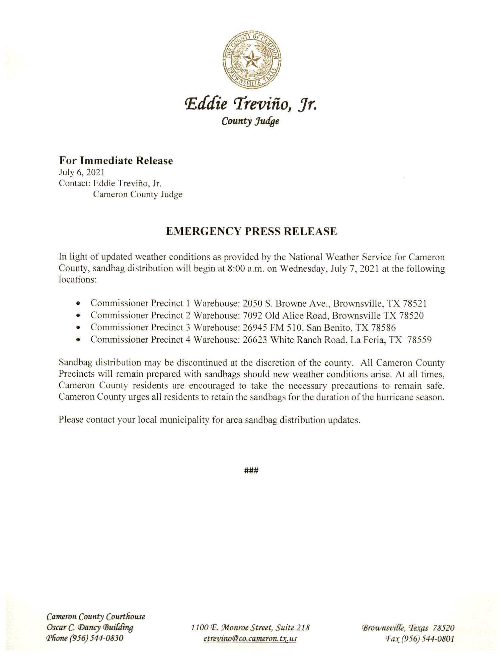 2021.07.06 2Emergency Press Release