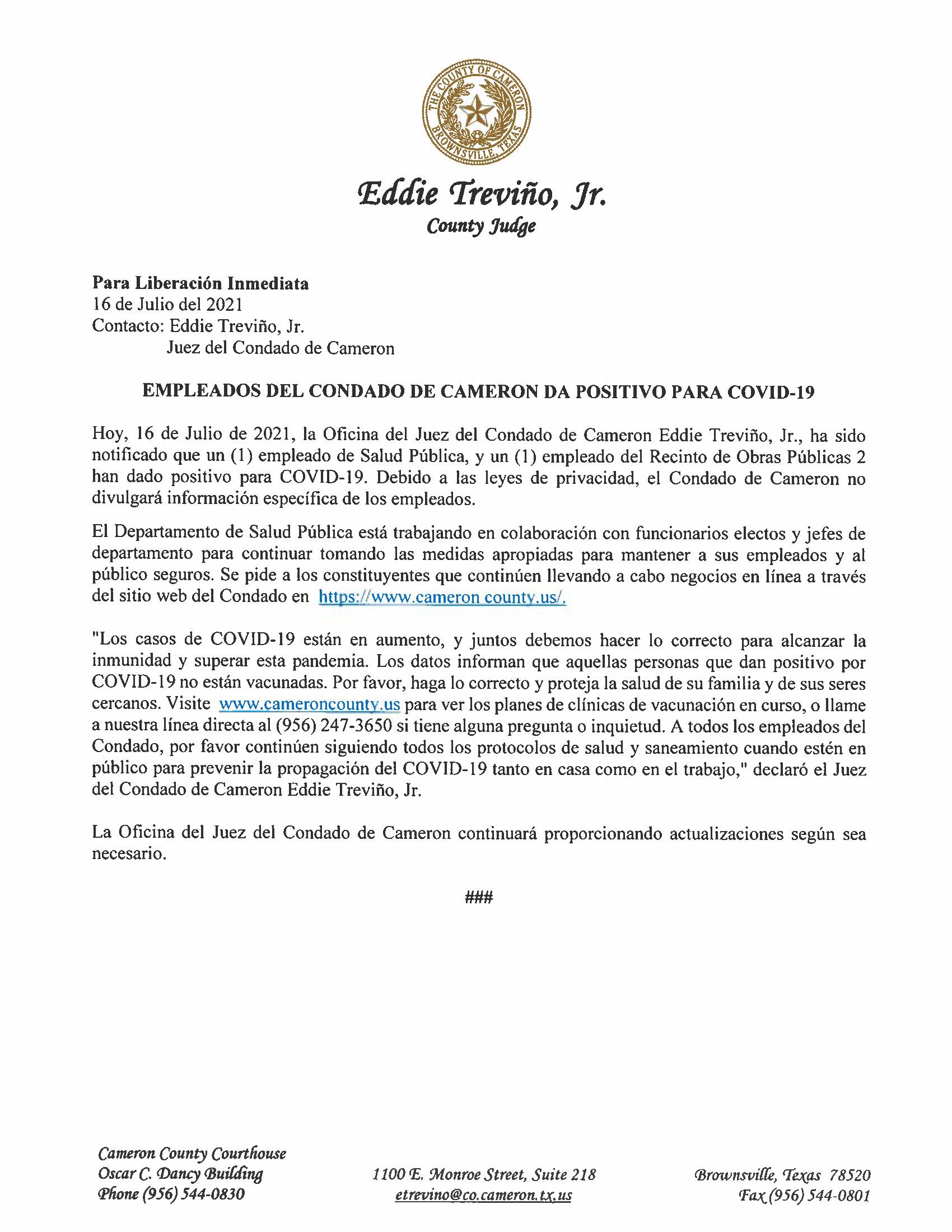 7.16.21 Empleados Del Condado De Cameron Dan Positivo Para COVID 19
