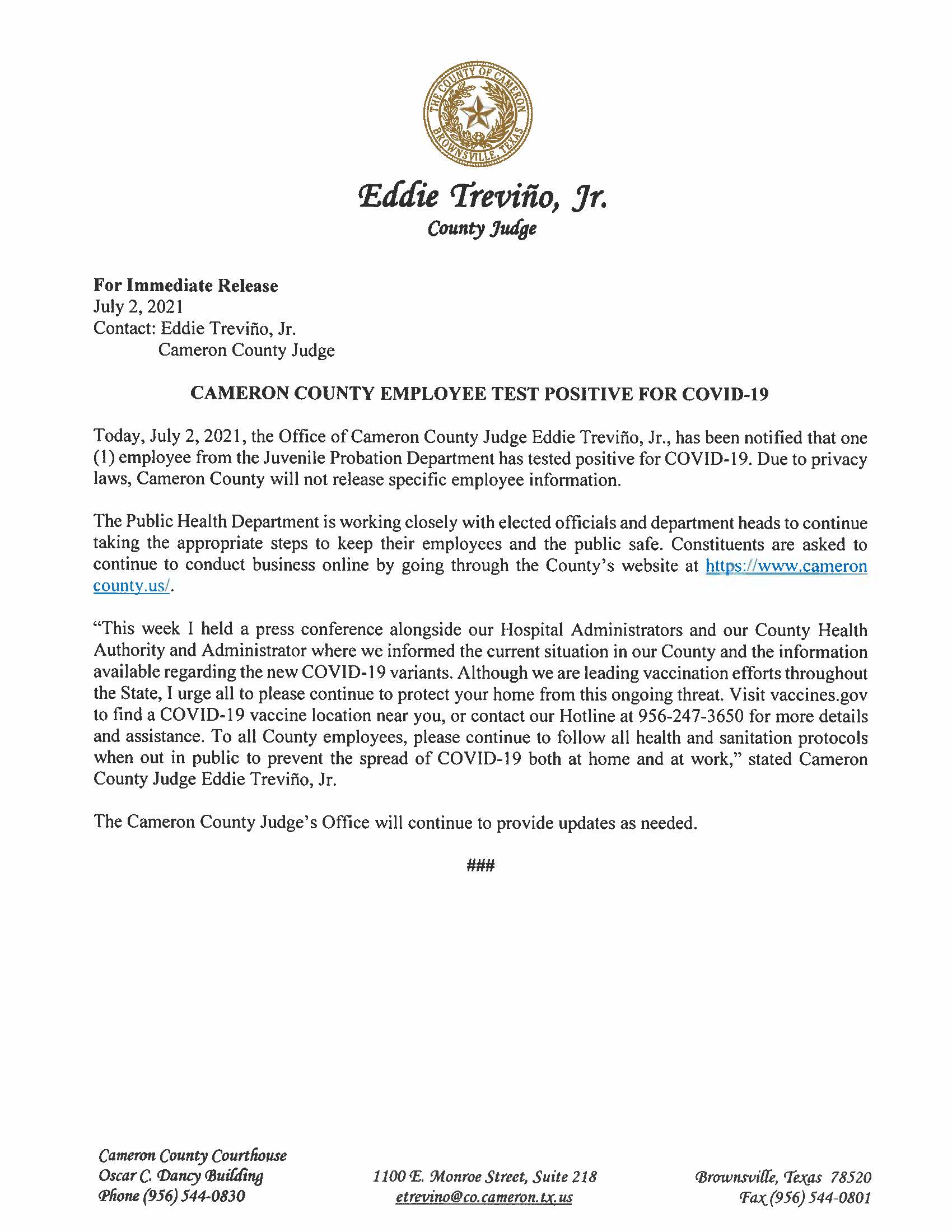 7.2.21 Cameron County Employee Test Positive For COVID 19