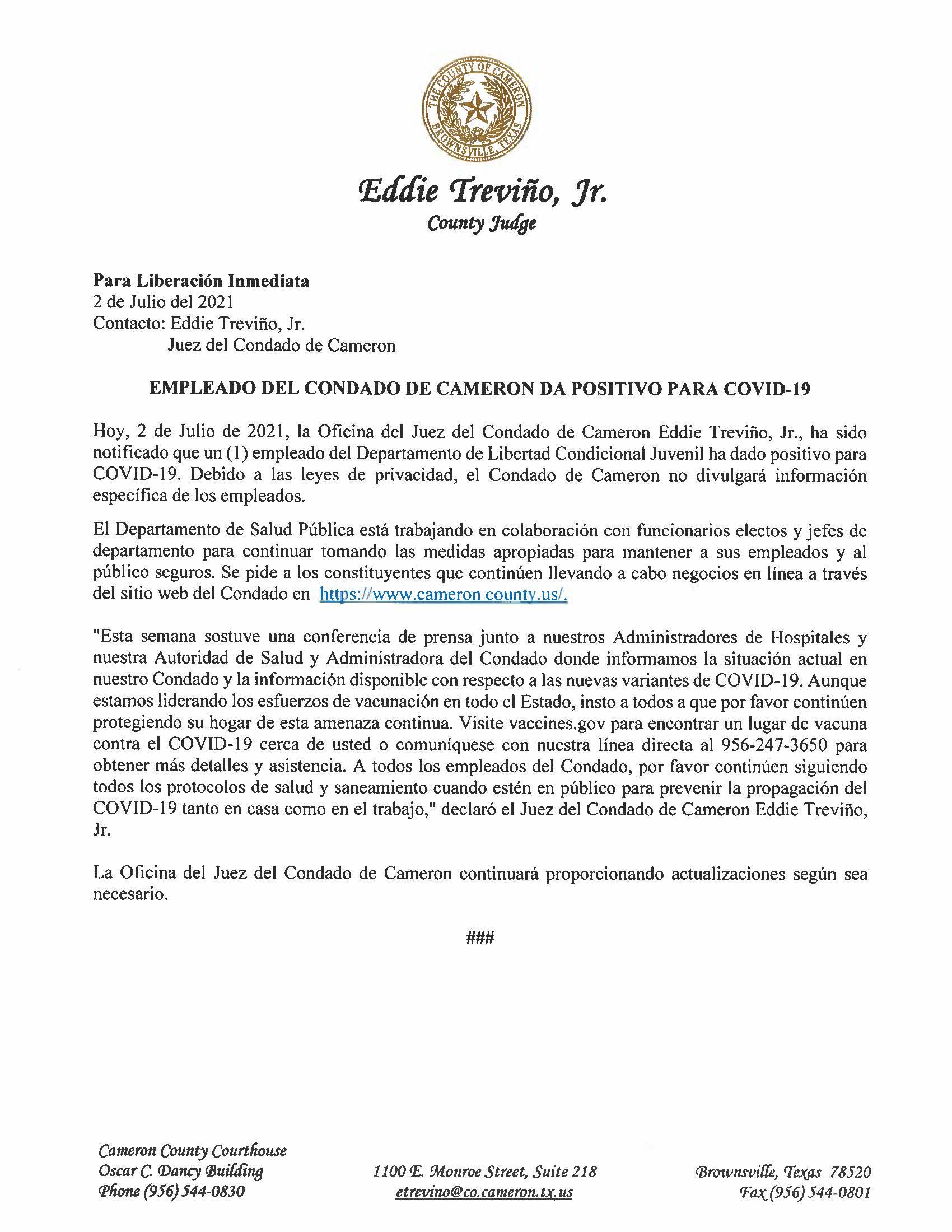 7.2.21 Empleado Del Condado De Cameron Da Positivo Para COVID 19