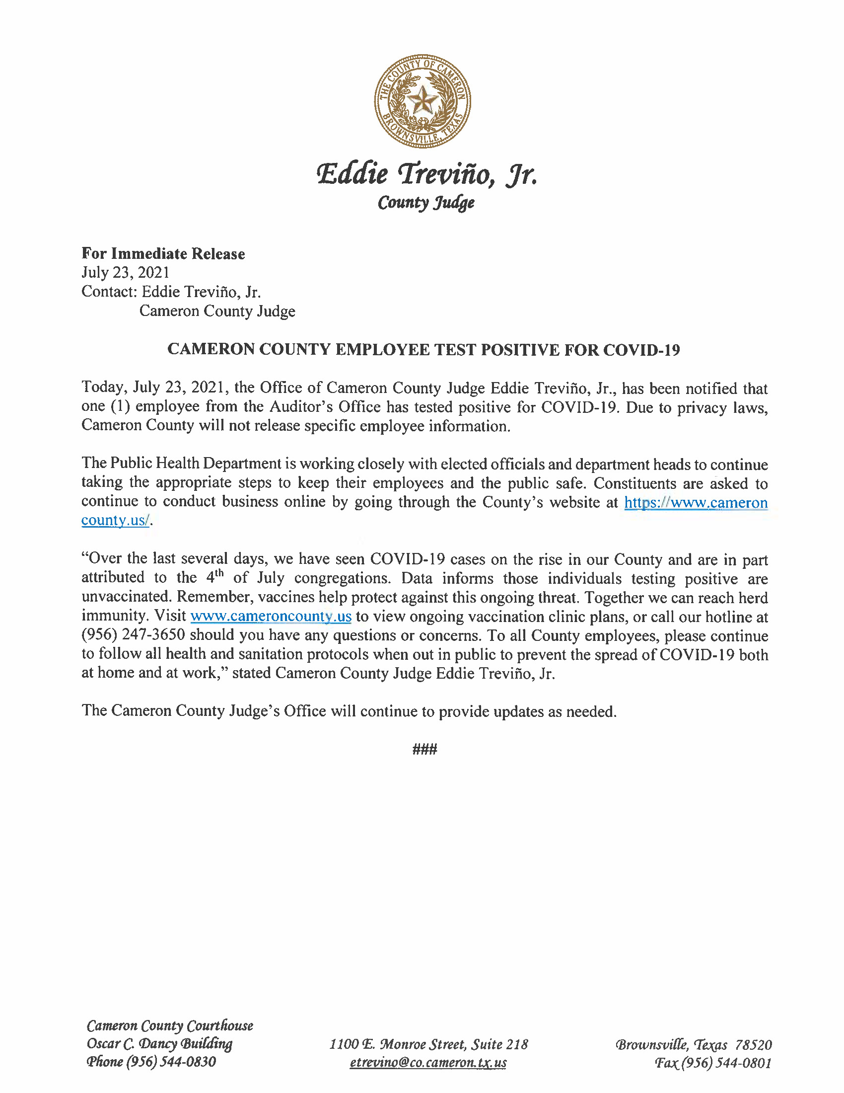 7.23.21 County Employee Test Positive For COVID 19