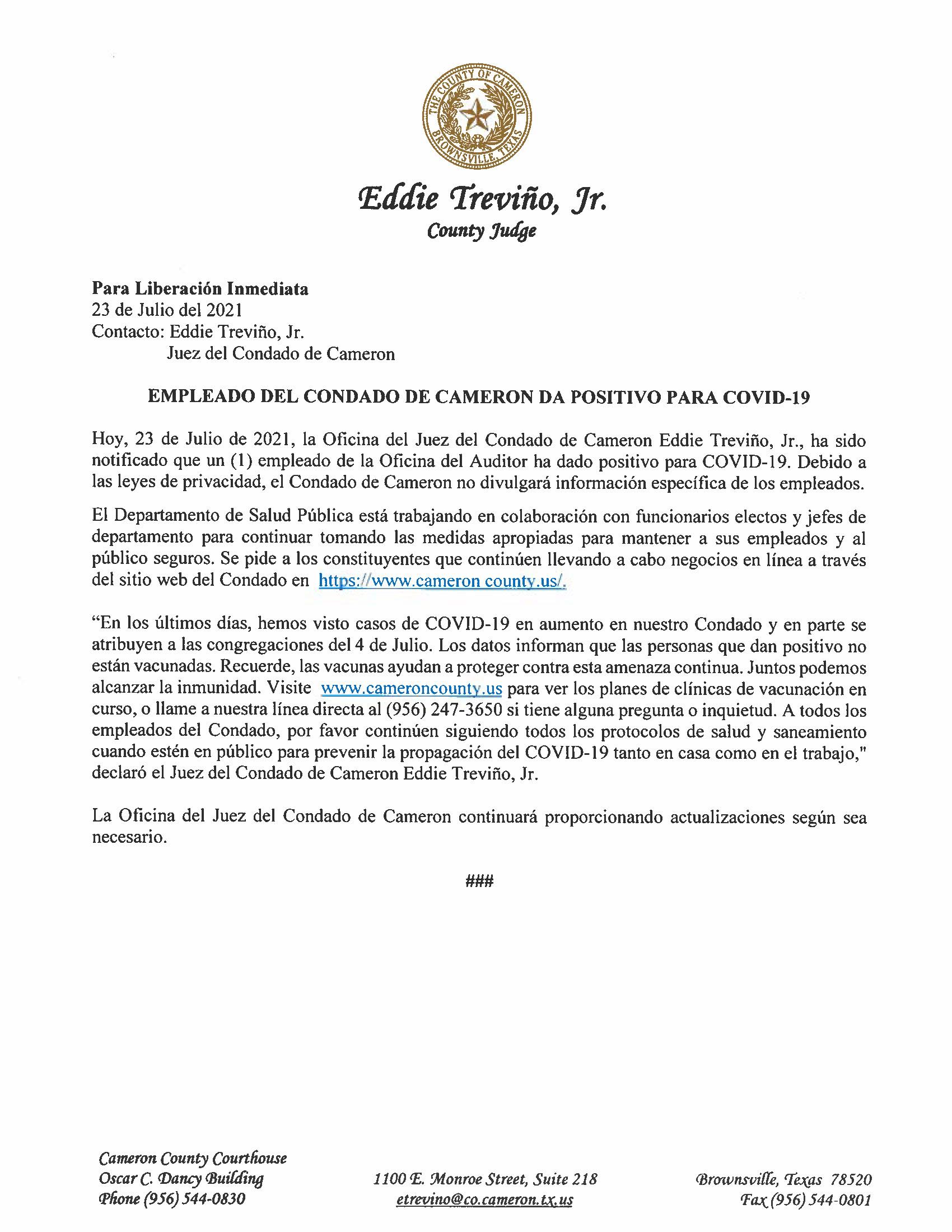 7.23.21 Empleado Del Condado Da Positivo Para COVID 19
