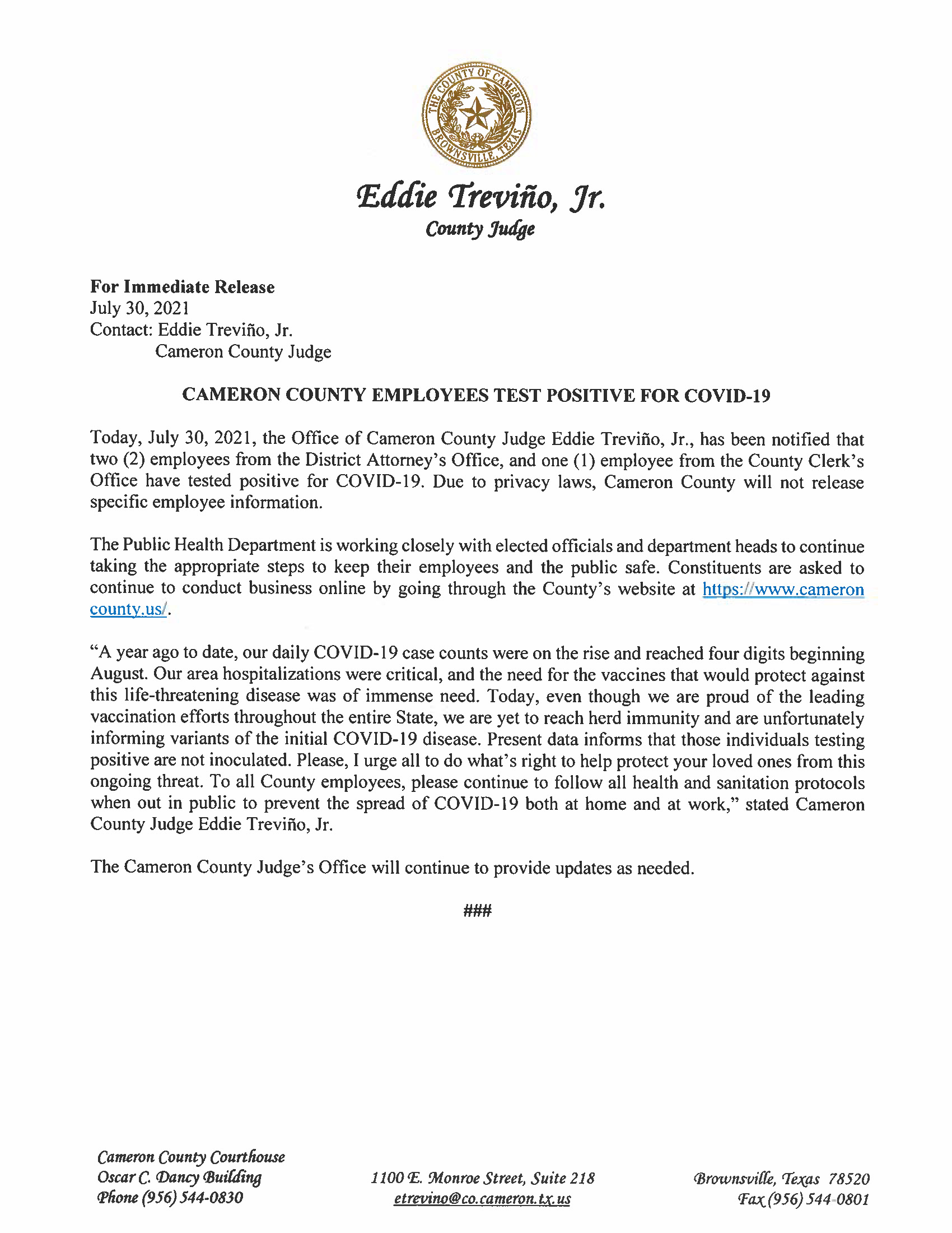 7.30.21 Cameron County Employees Test Positive For COVID 19