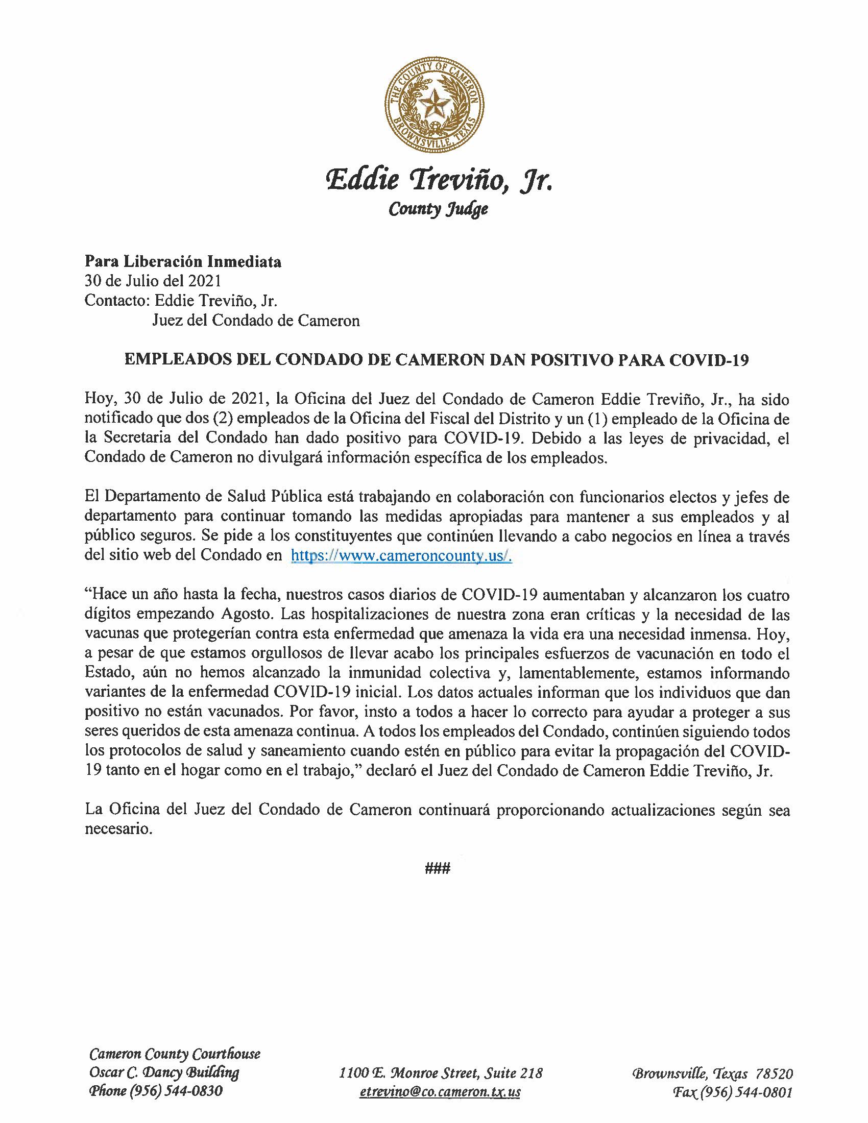 7.30.21 Empleados Del Condado De Cameron Dan Positivo Para COVID 19