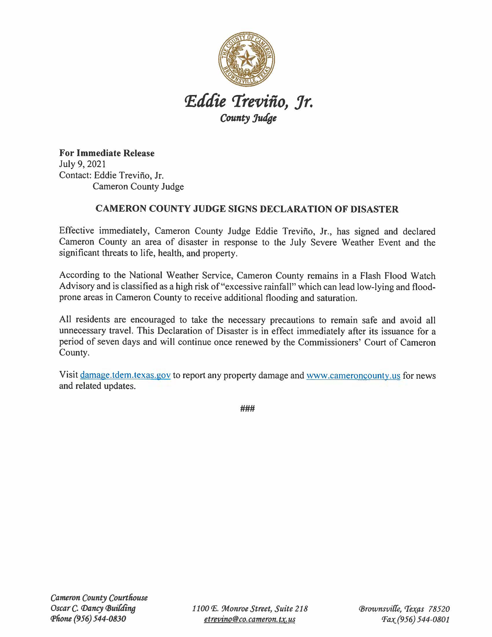 7.9.21 Cameron County Judge Signs Declaration Of Disaster July Severe Weather Event