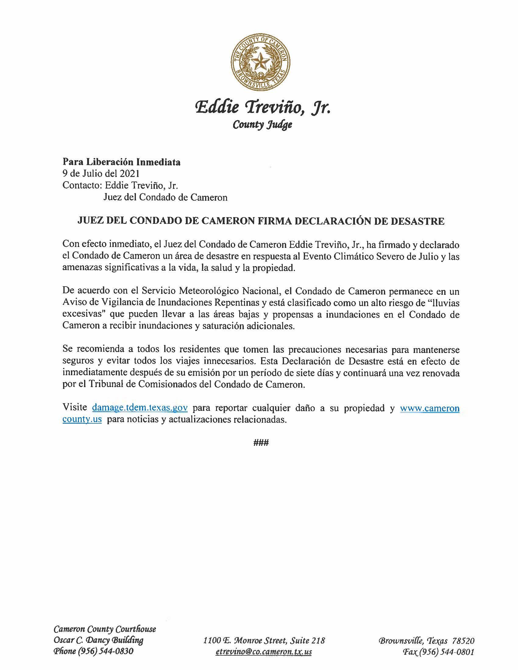 7.9.21 Juez Del Condado De Cameron Firma Declaracion De Desastre Evento Climatico Severo De Julio