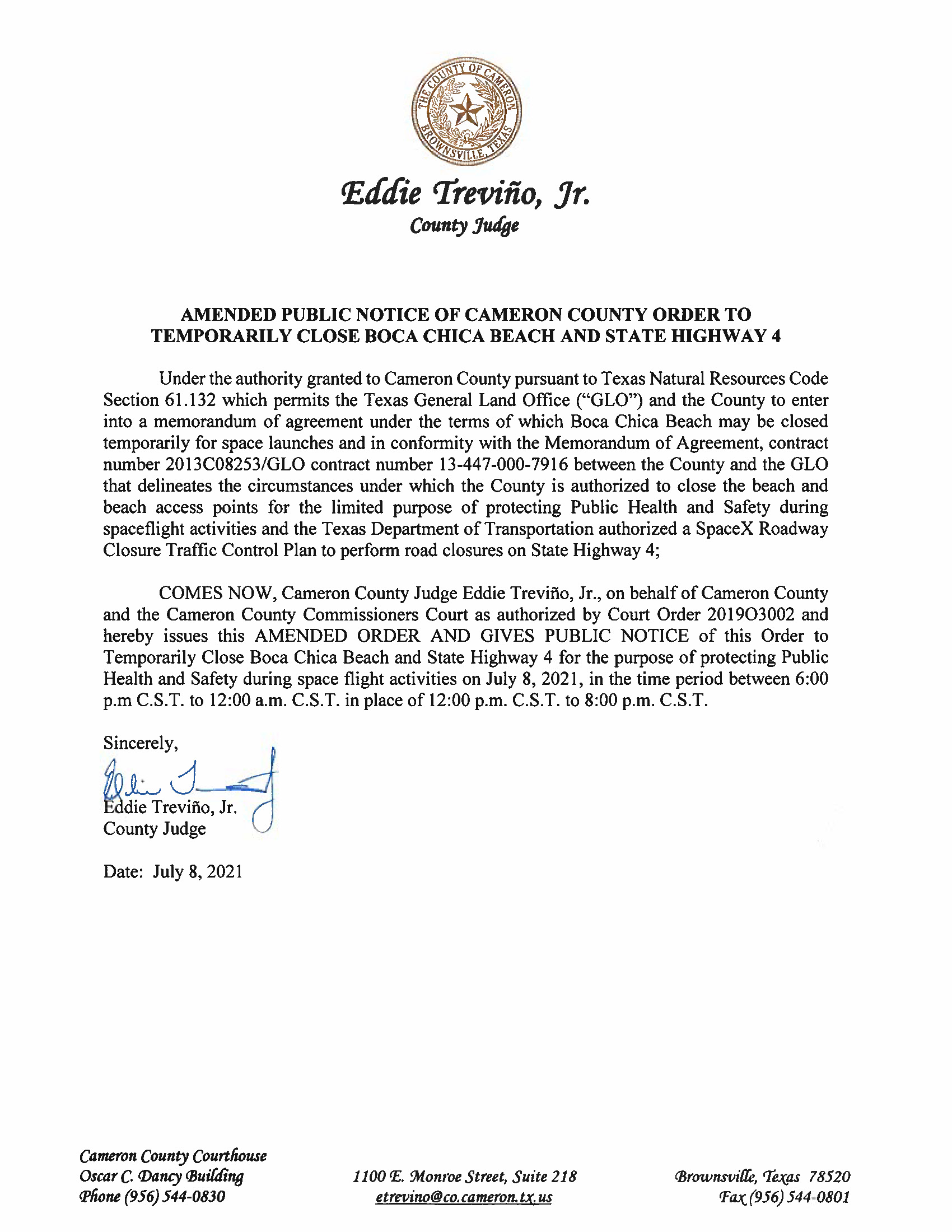AMENDMENT PUBLIC NOTICE OF CAMERON COUNTY ORDER TO TEMP. BEACH CLOSURE AND HWY.07.08.21