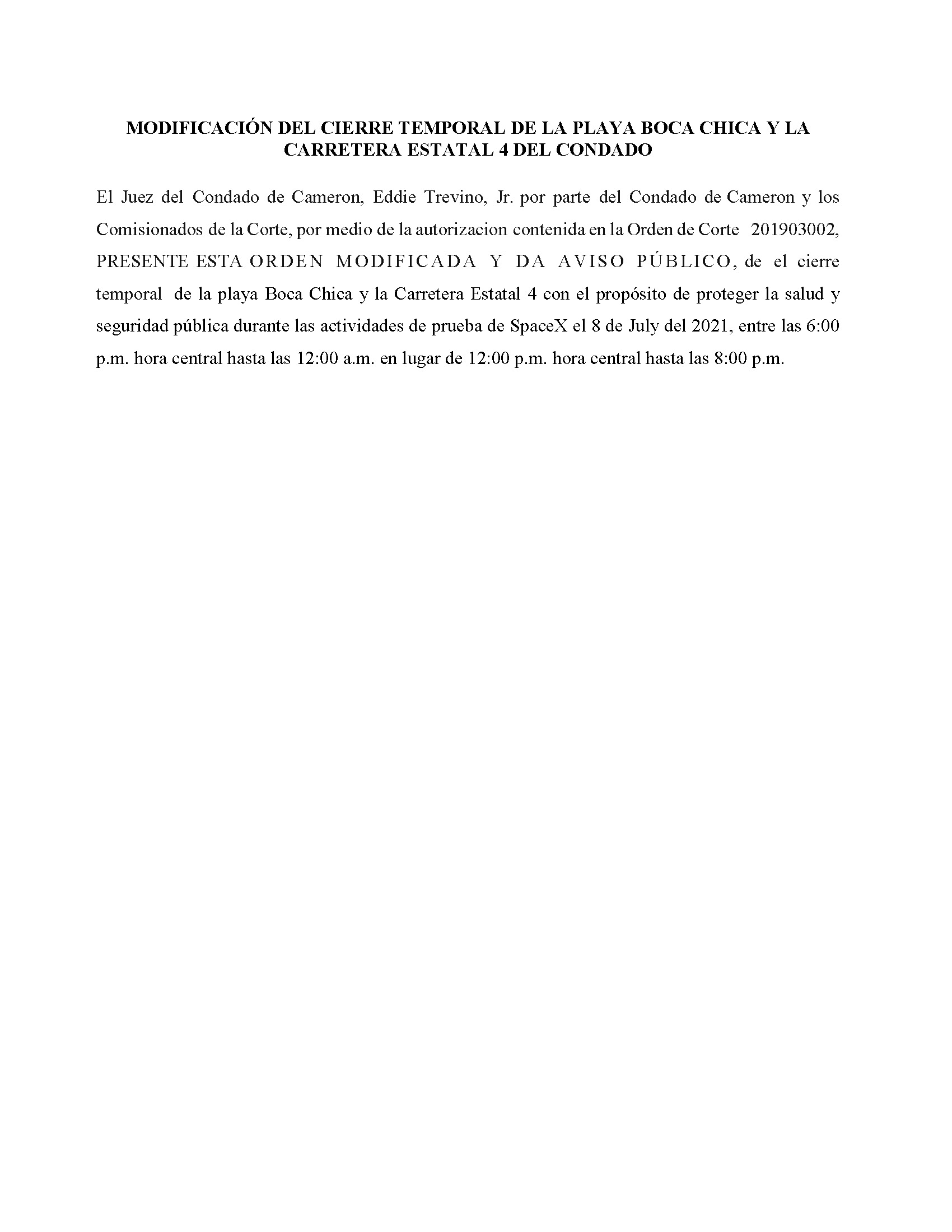 Amended Order In Spanish.07.08.21