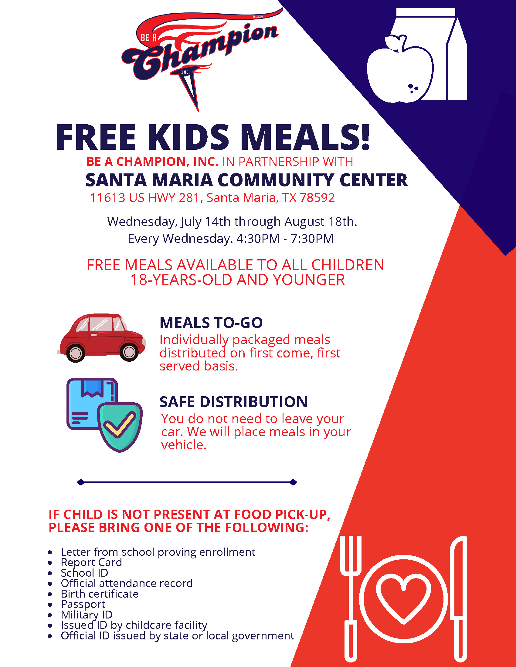 Free Kids Meal Santa Maria Community Center