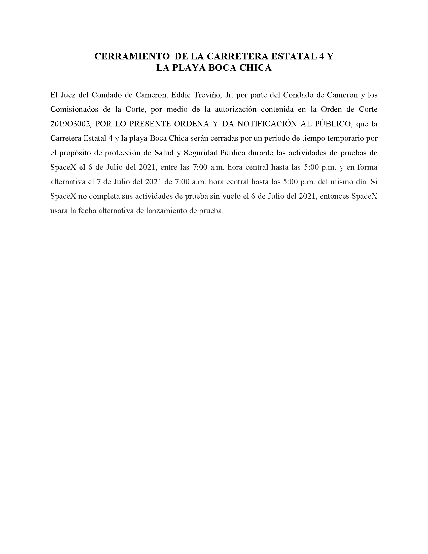 ORDER.CLOSURE OF HIGHWAY 4 Y LA PLAYA BOCA CHICA.SPANISH.07.06.2021