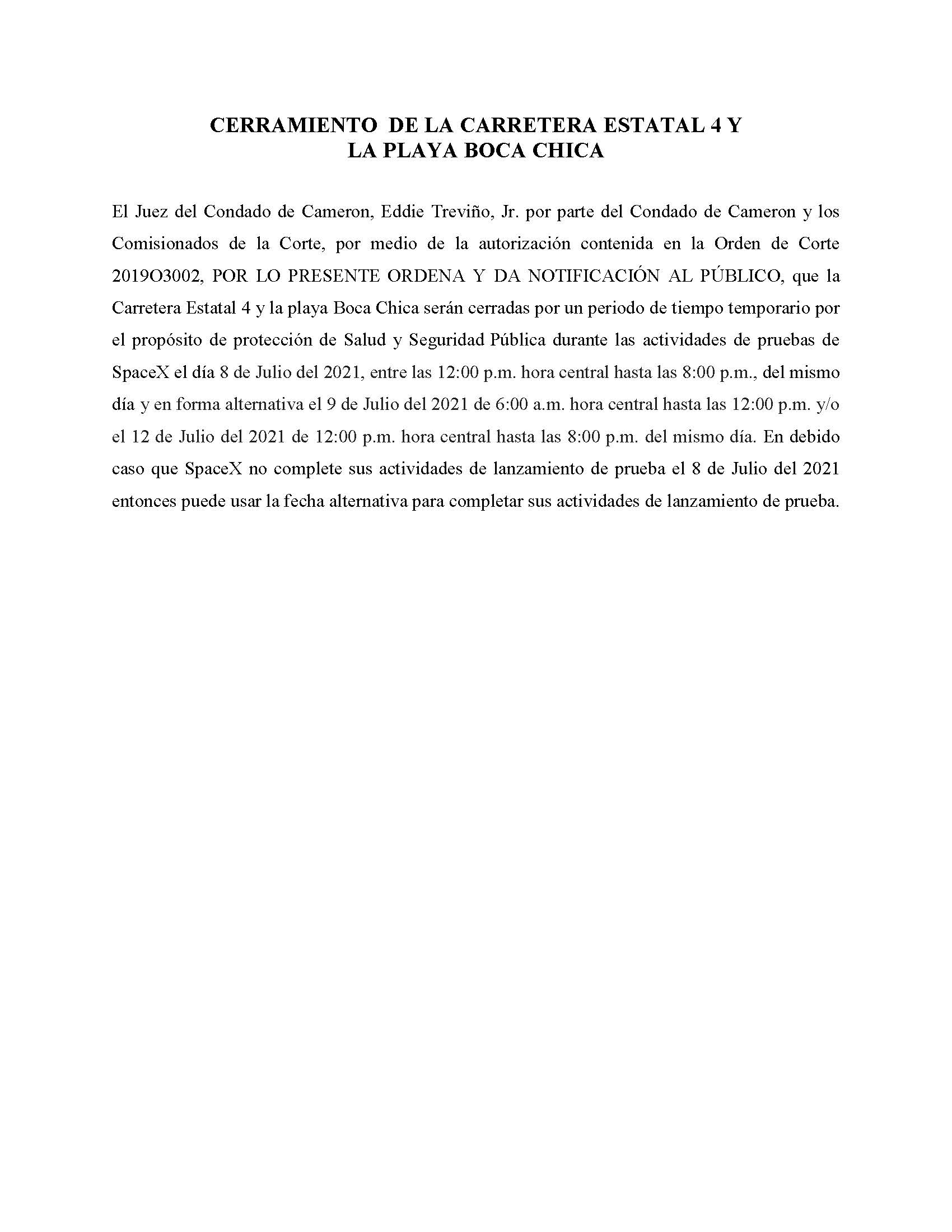ORDER.CLOSURE OF HIGHWAY 4 Y LA PLAYA BOCA CHICA.SPANISH.07.08.2021