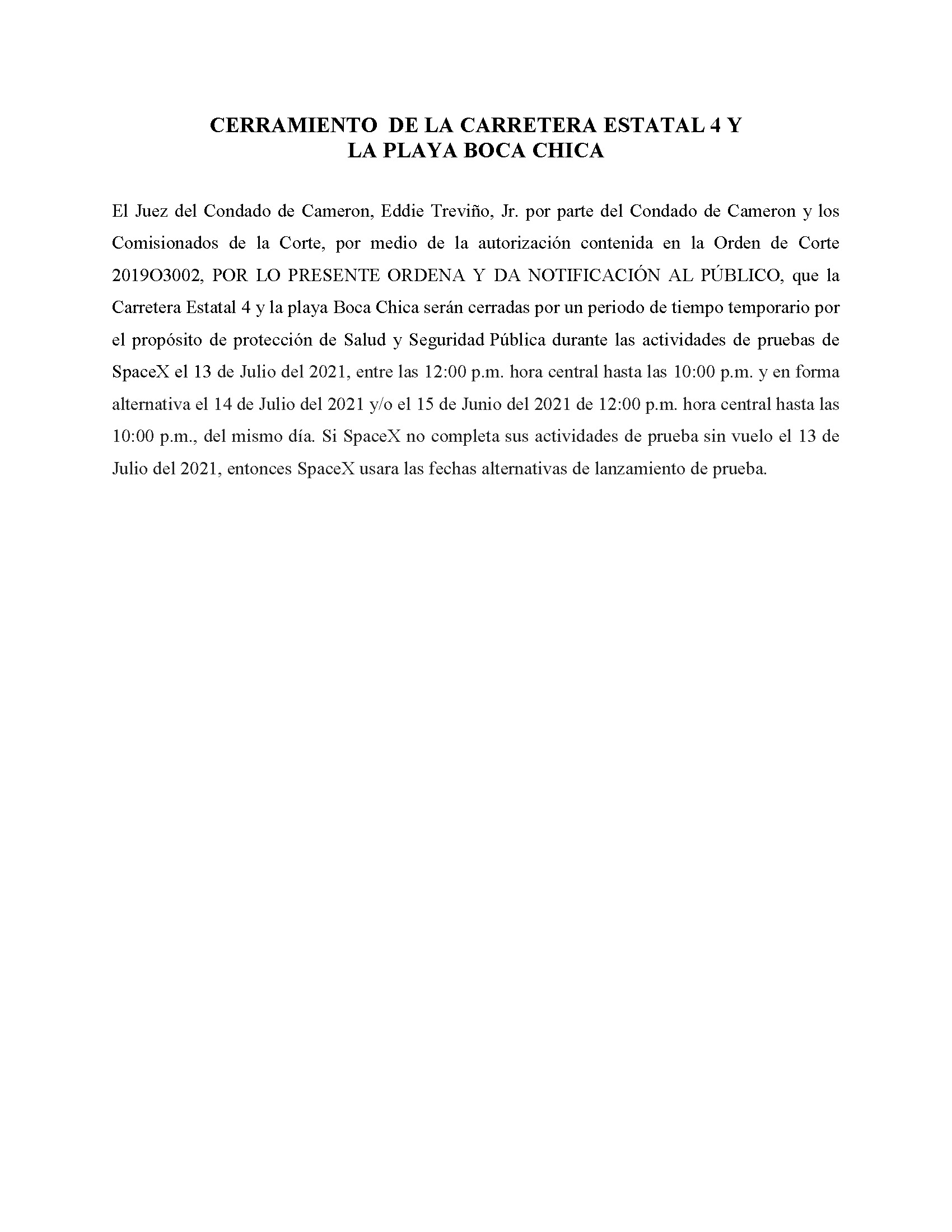ORDER.CLOSURE OF HIGHWAY 4 Y LA PLAYA BOCA CHICA.SPANISH.07.13.2021