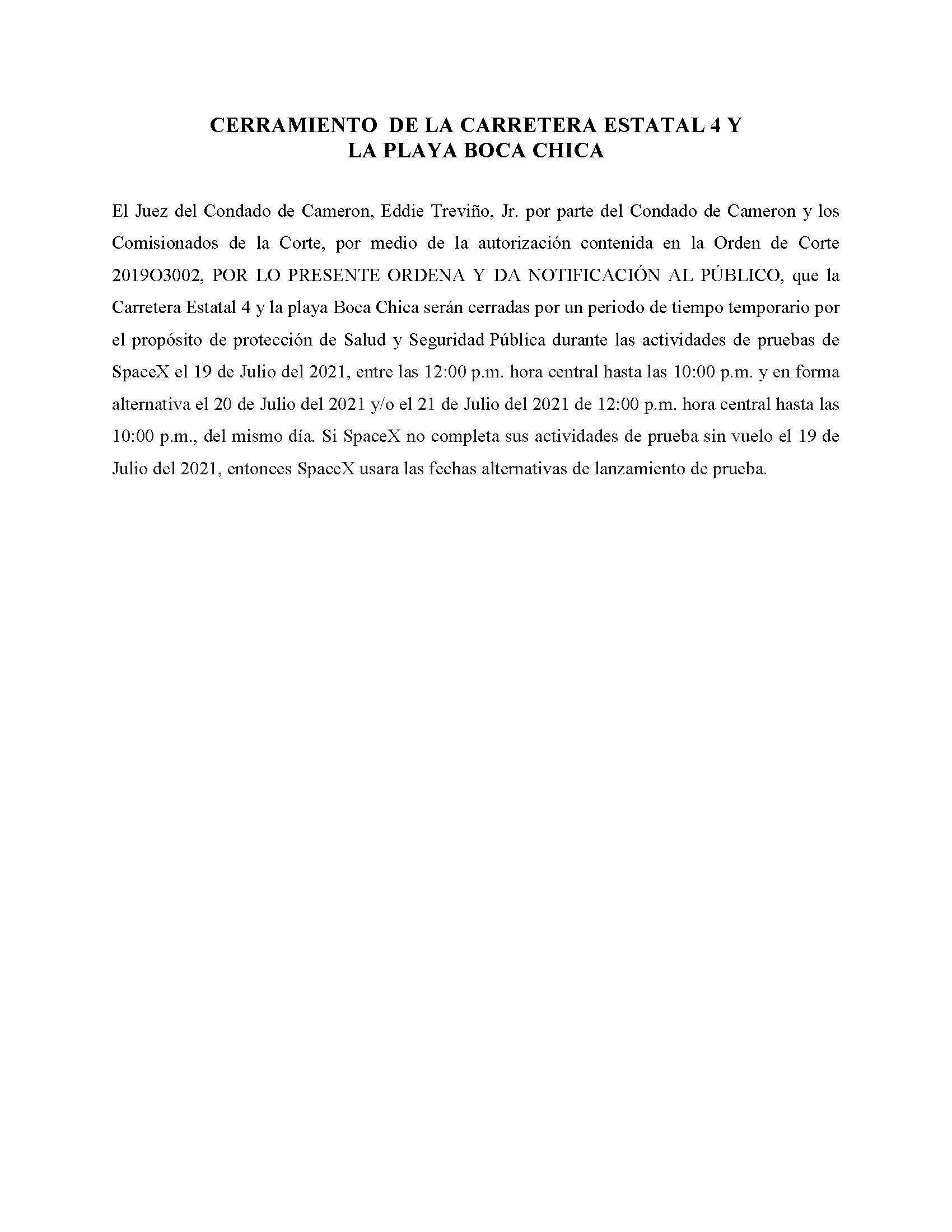 ORDER.CLOSURE OF HIGHWAY 4 Y LA PLAYA BOCA CHICA.SPANISH.07.19.2021